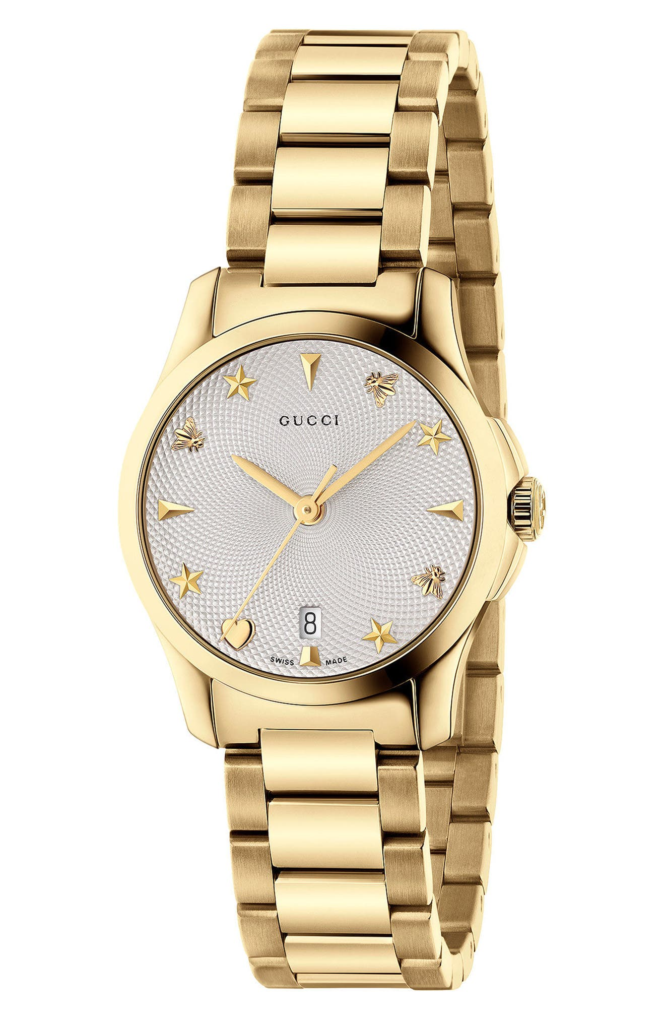 GUCCI, G-Timeless Bracelet Watch, 27mm, Main thumbnail 1, color, GOLD/ SILVER/ GOLD