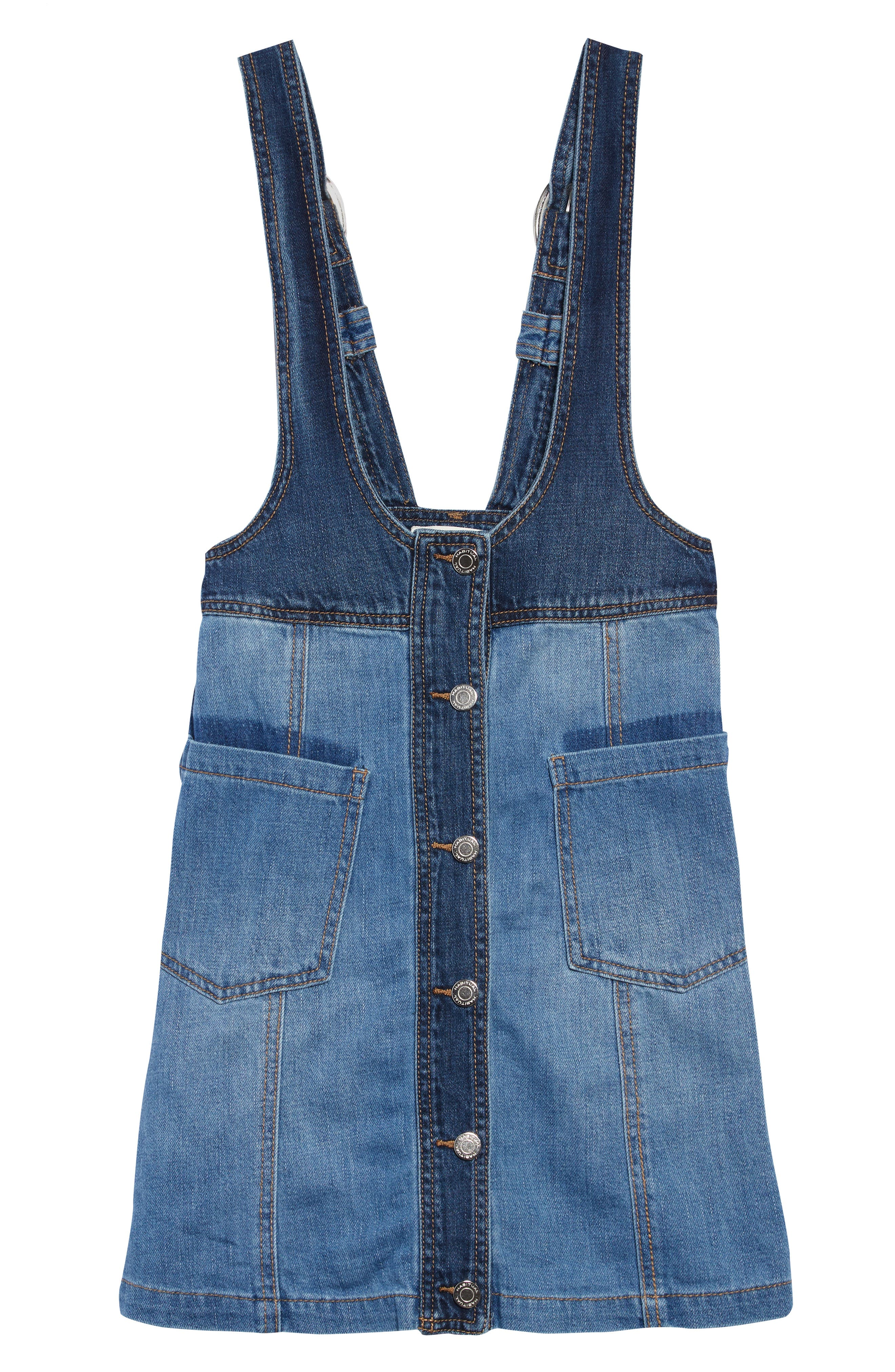 Girls Habitual Hester TwoTone Denim Pinafore Dress Size 14  Blue