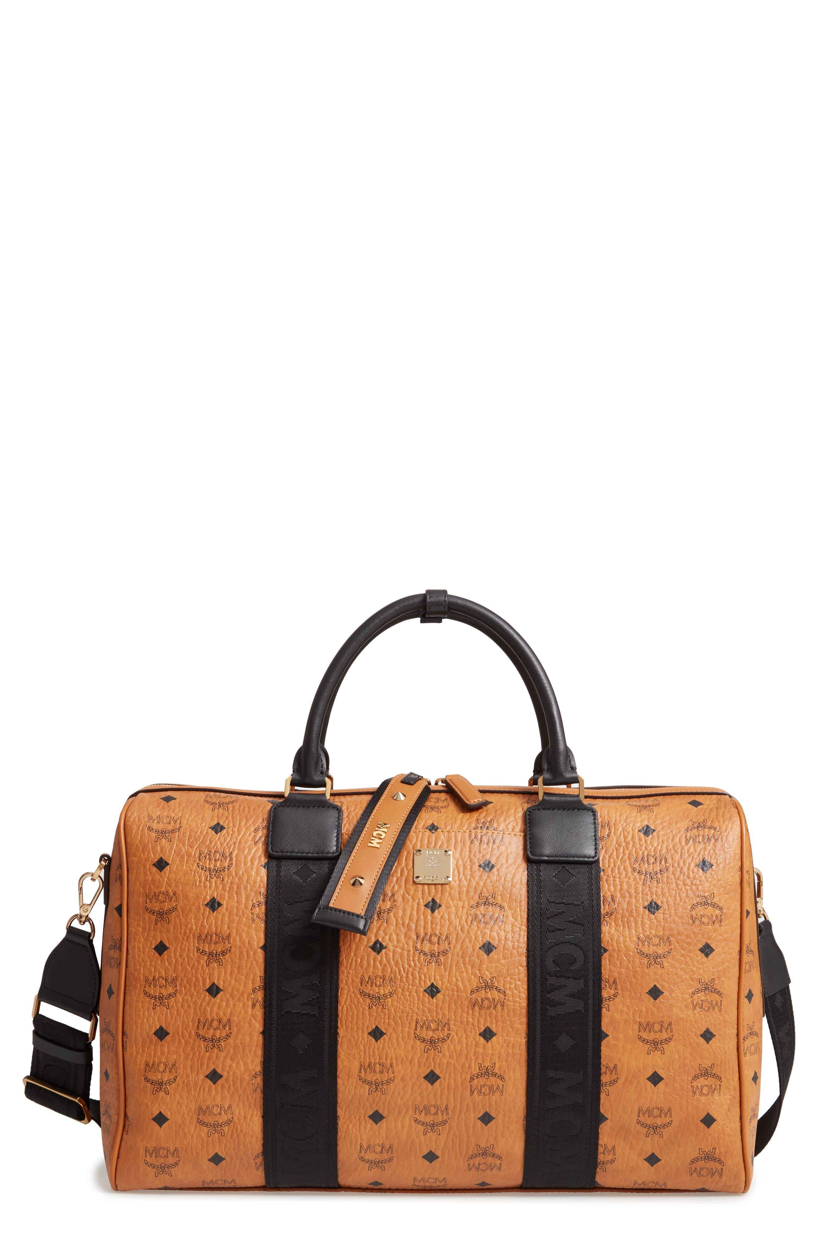 MCM Traveler Visetos Duffle Bag, Main, color, COGNAC