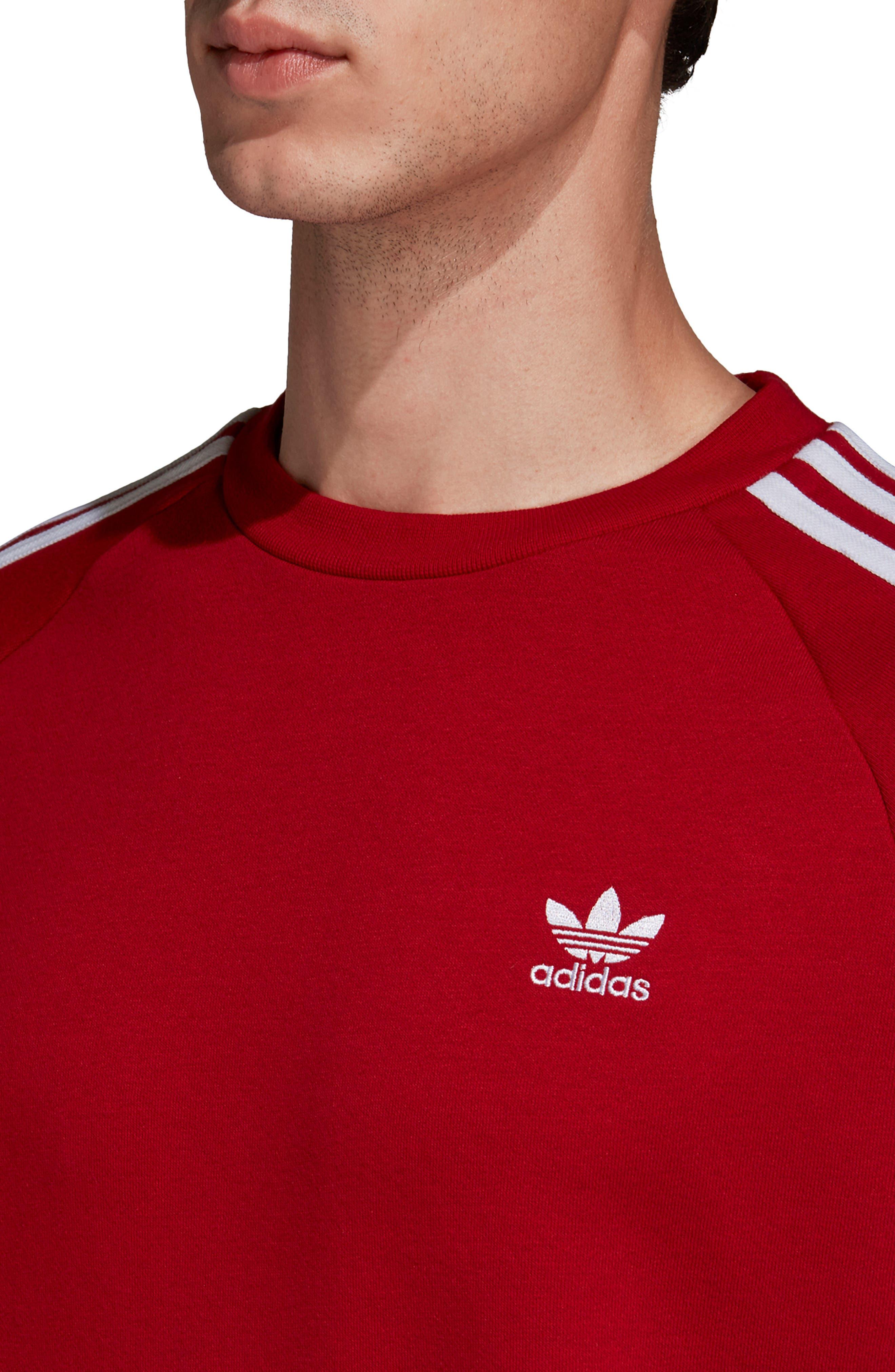 ADIDAS ORIGINALS, 3-Stripes Raglan Sweatshirt, Alternate thumbnail 4, color, POWER RED