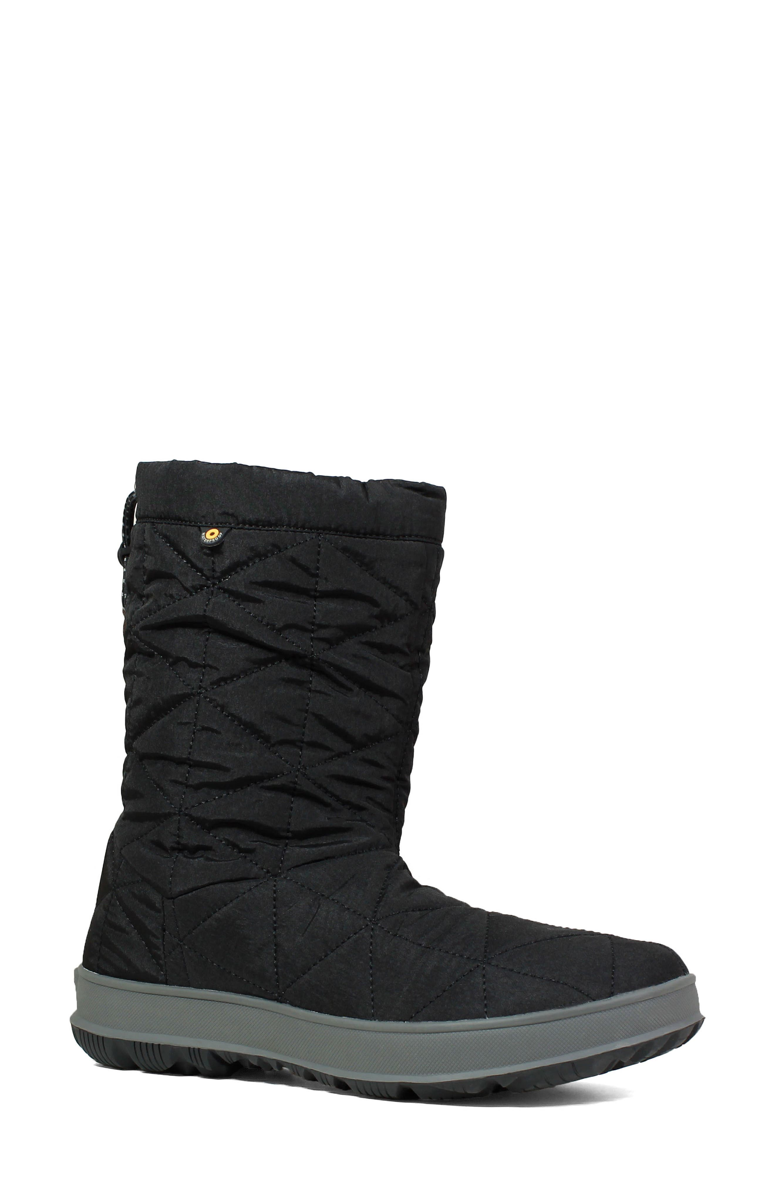 BOGS Mid Snowday Waterproof Bootie, Main, color, BLACK