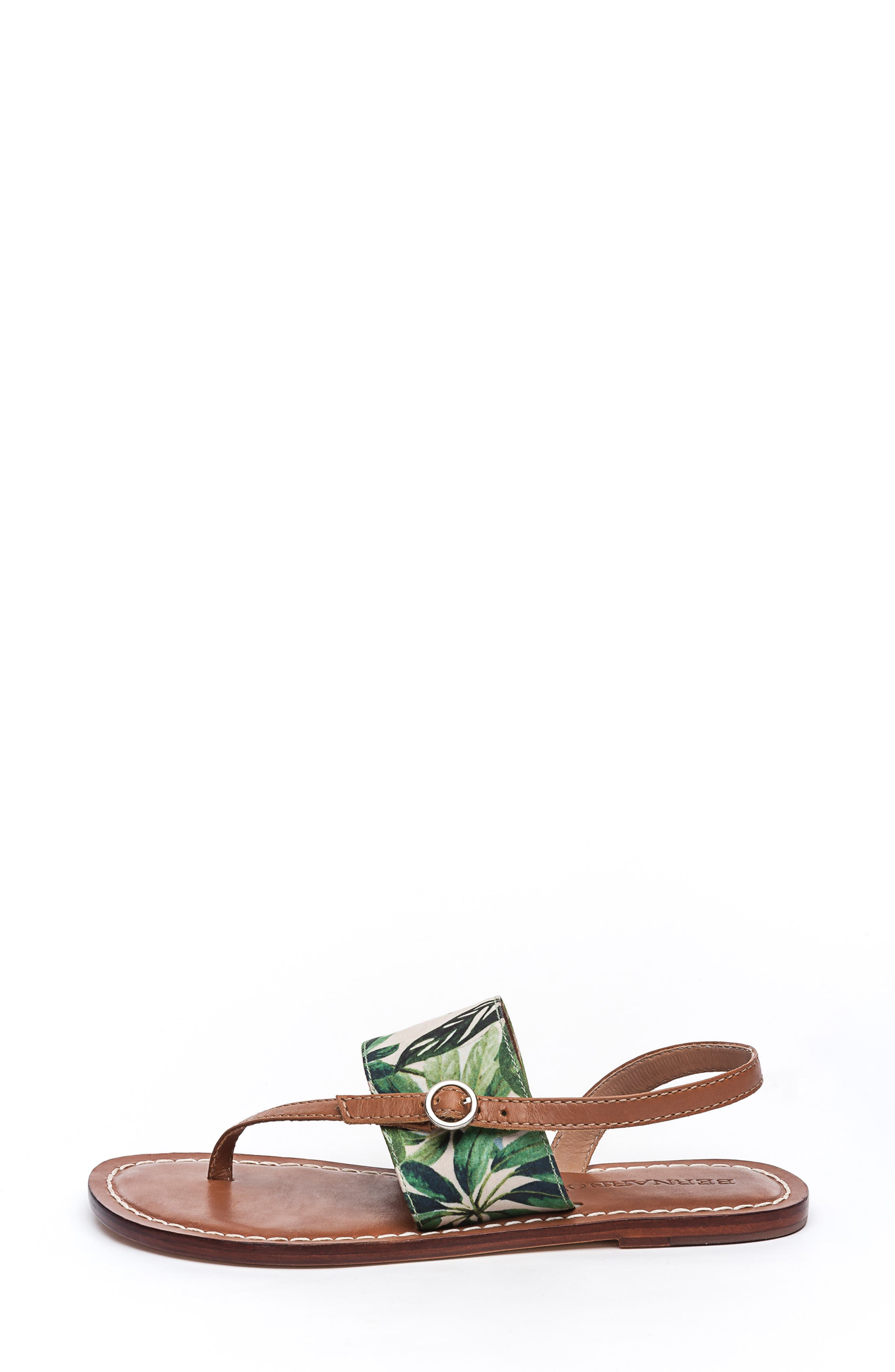 BERNARDO, Footwear Meg Thong Sandal, Alternate thumbnail 3, color, PALM FABRIC/ LUGGAGE LEATHER