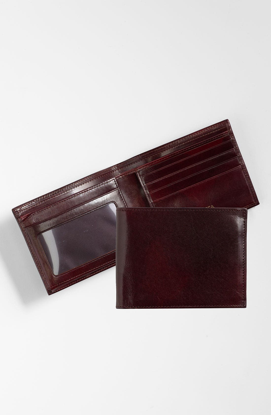 BOSCA, ID Flap Leather Wallet, Main thumbnail 1, color, DARK BROWN