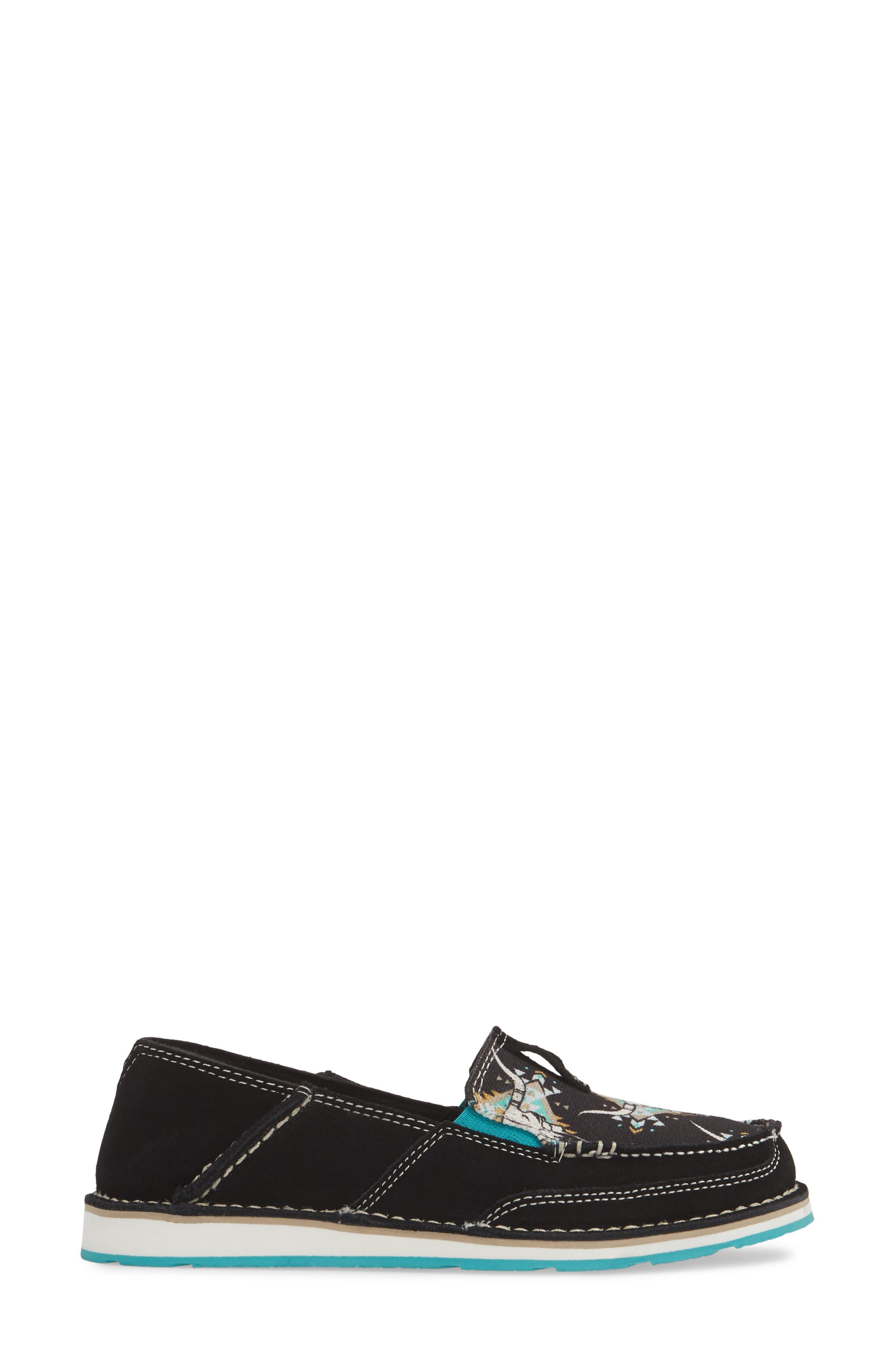 ARIAT, Cruiser Slip-On Loafer, Alternate thumbnail 3, color, BLACK STEER LEATHER