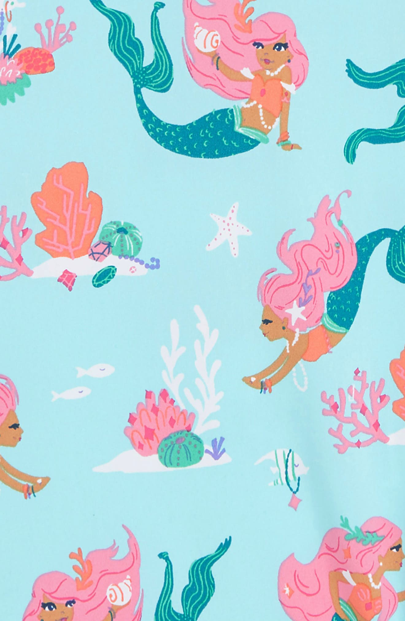 HATLEY, Mermaid Tales One-Piece Rashguard Swimsuit, Alternate thumbnail 2, color, BLUE