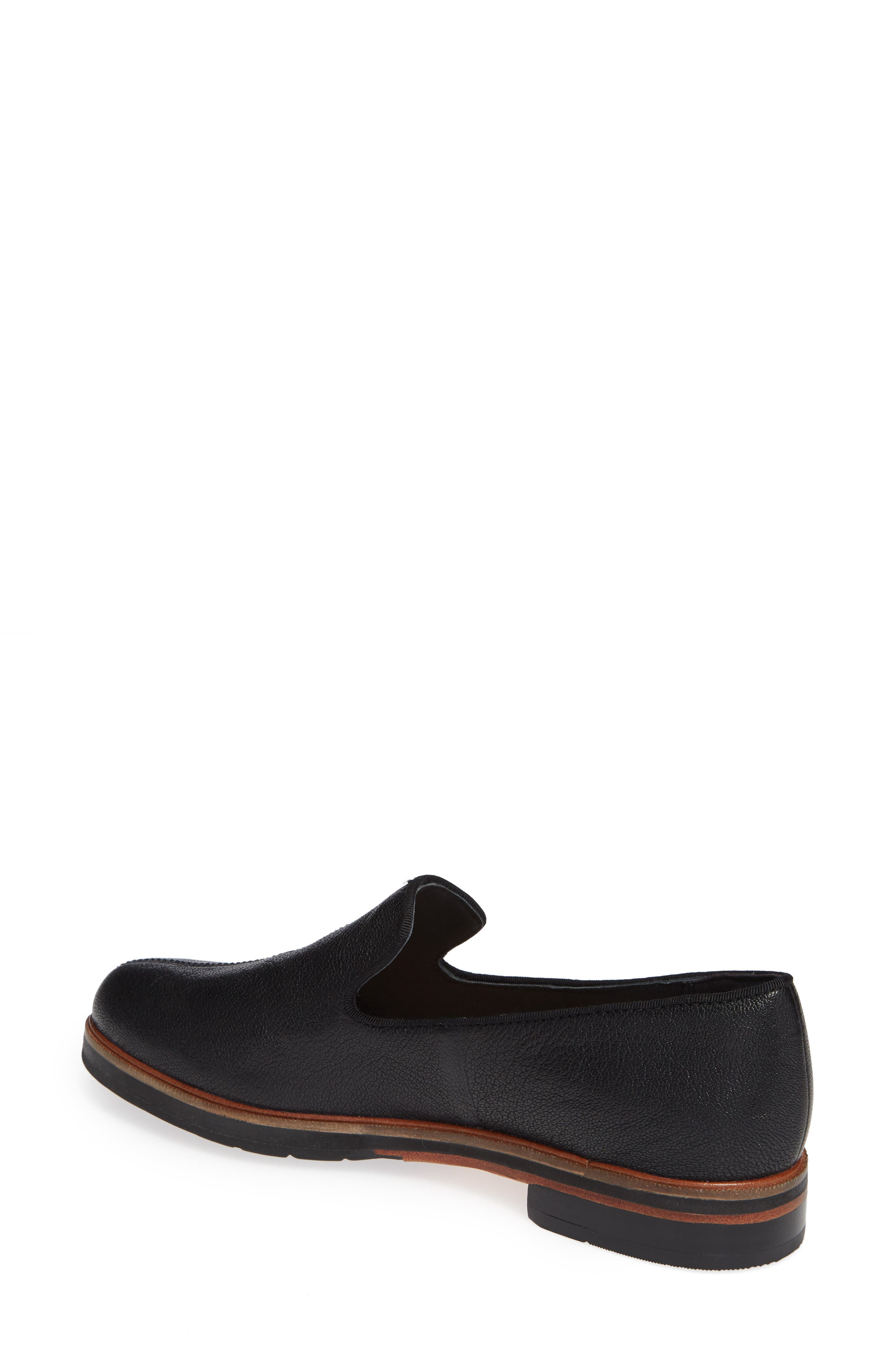 CLARKS<SUP>®</SUP>, Frida Loafer, Alternate thumbnail 2, color, BLACK TUMBLED LEATHER