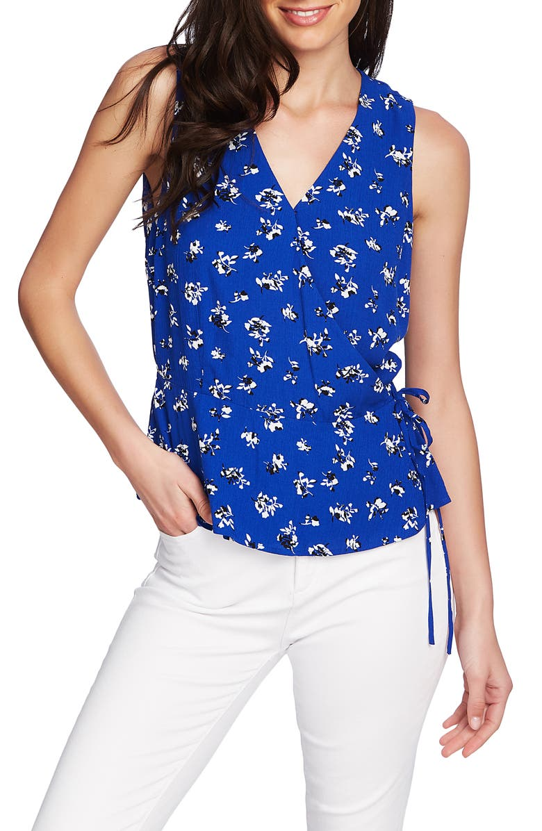 1.state Tops FLORAL PRINT SLEEVELESS WRAP TOP