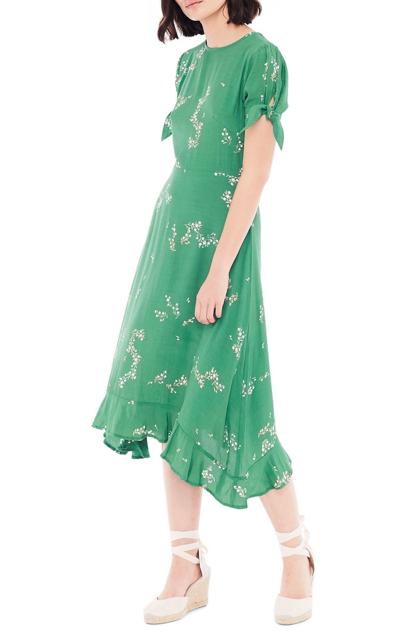 FAITHFULL THE BRAND, Emilia Floral Midi Dress, Alternate thumbnail 4, color, MYRTILLE FLORAL PRINT - GREEN