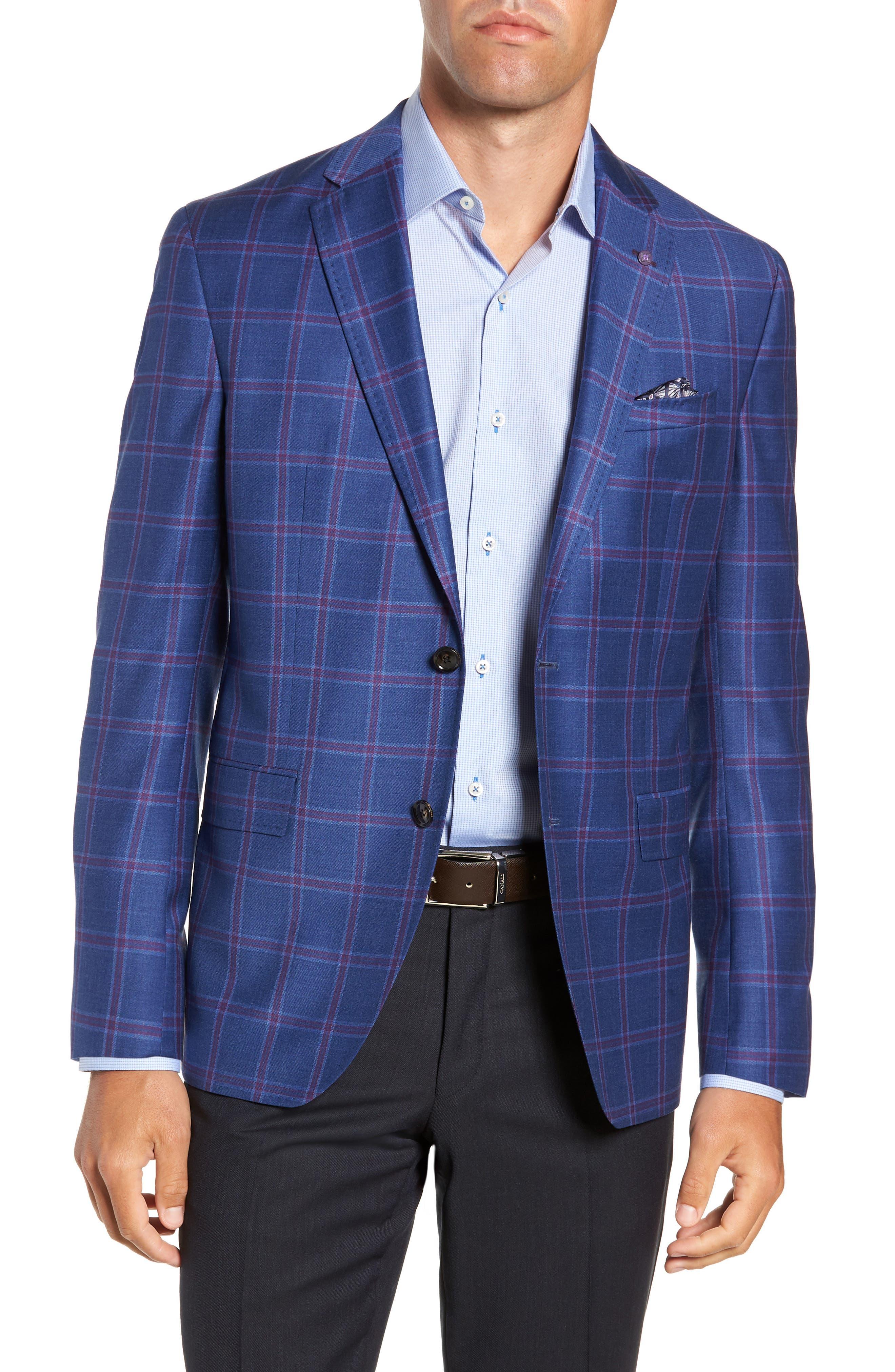 TED BAKER LONDON Konan Trim Fit Wool Sport Coat, Main, color, BLUE