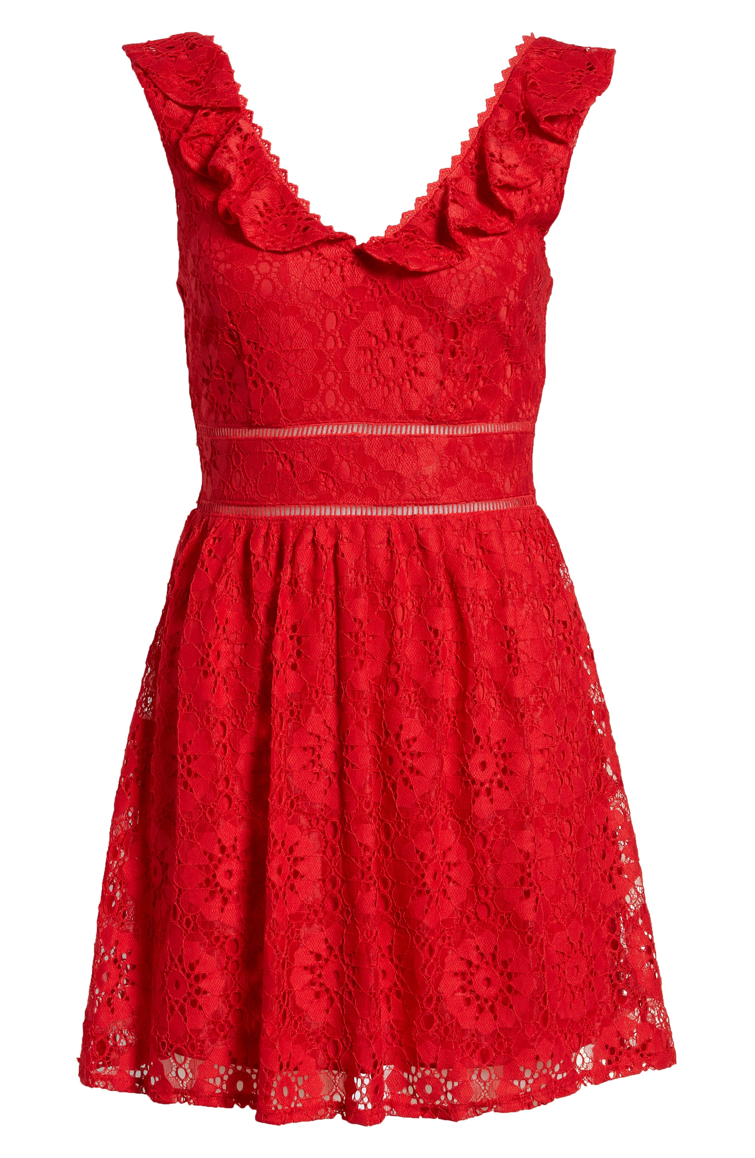 SPEECHLESS, Lace Ruffle Neck Skater Dress, Alternate thumbnail 7, color, RED