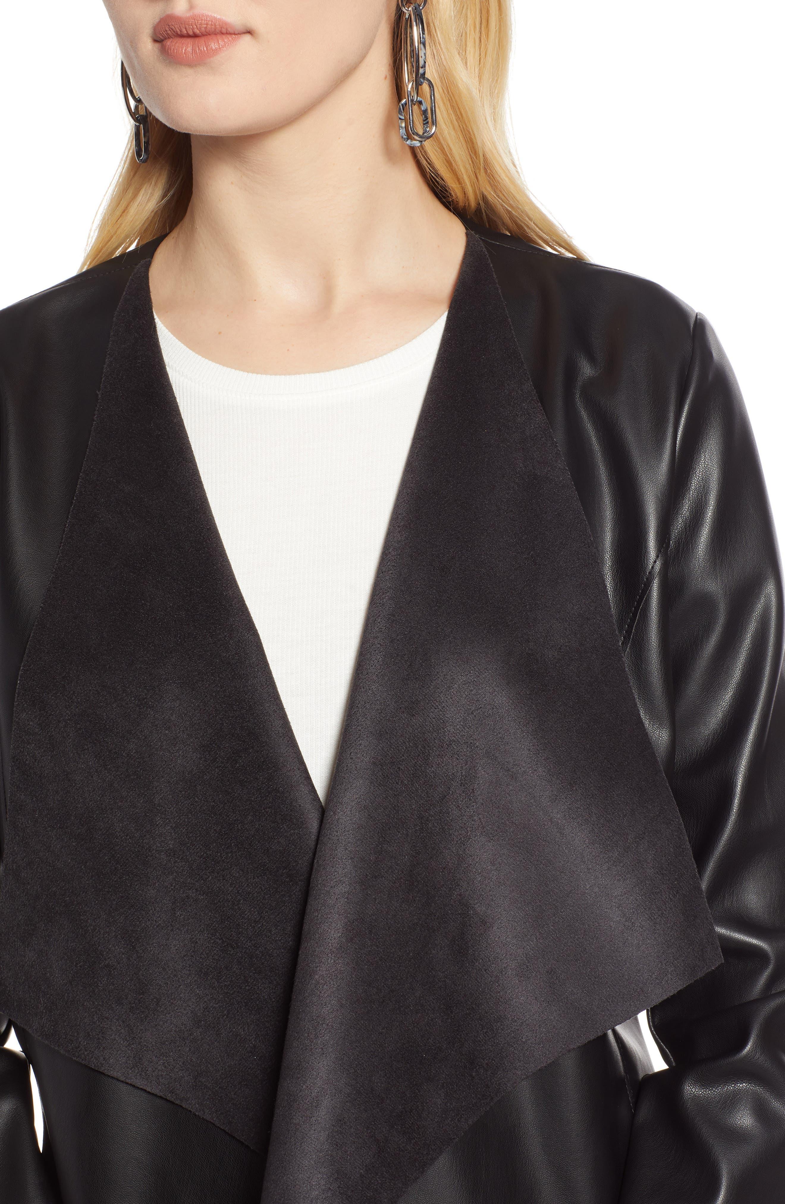 HALOGEN<SUP>®</SUP>, Drape Faux Leather Jacket, Alternate thumbnail 5, color, BLACK
