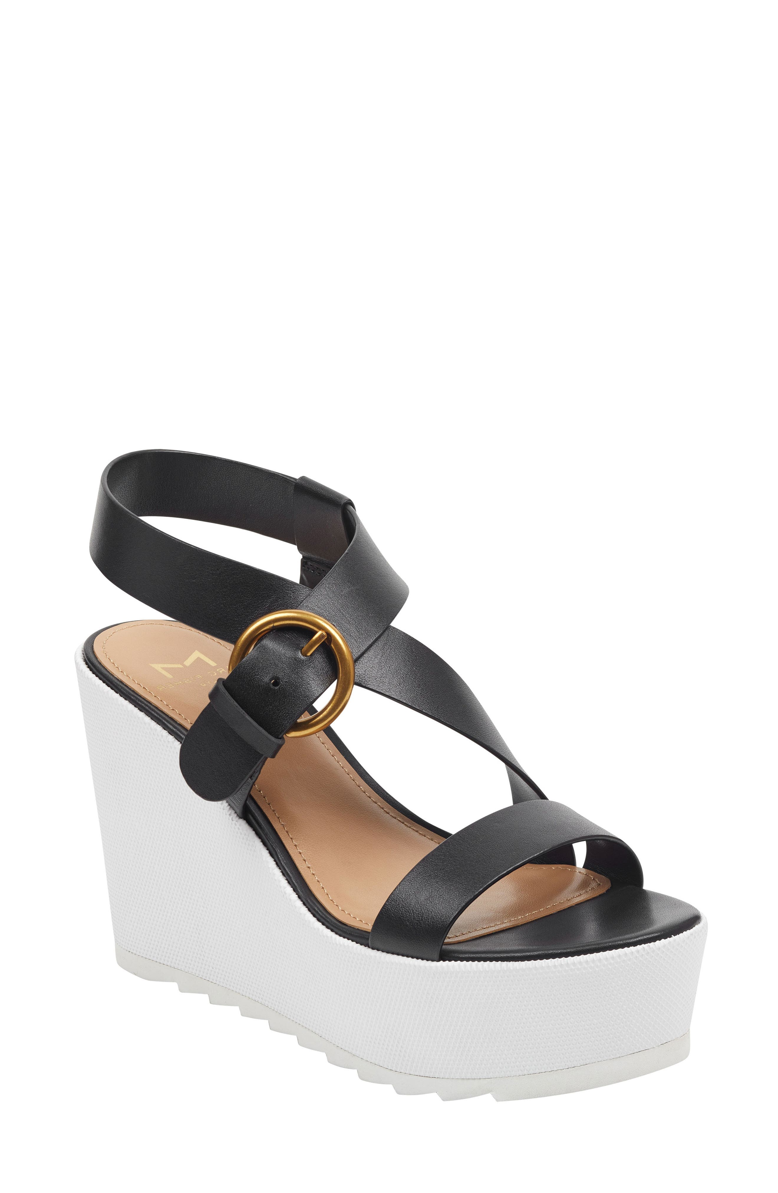 Marc Fisher Ltd Mahina Platform Wedge Sandal, Black