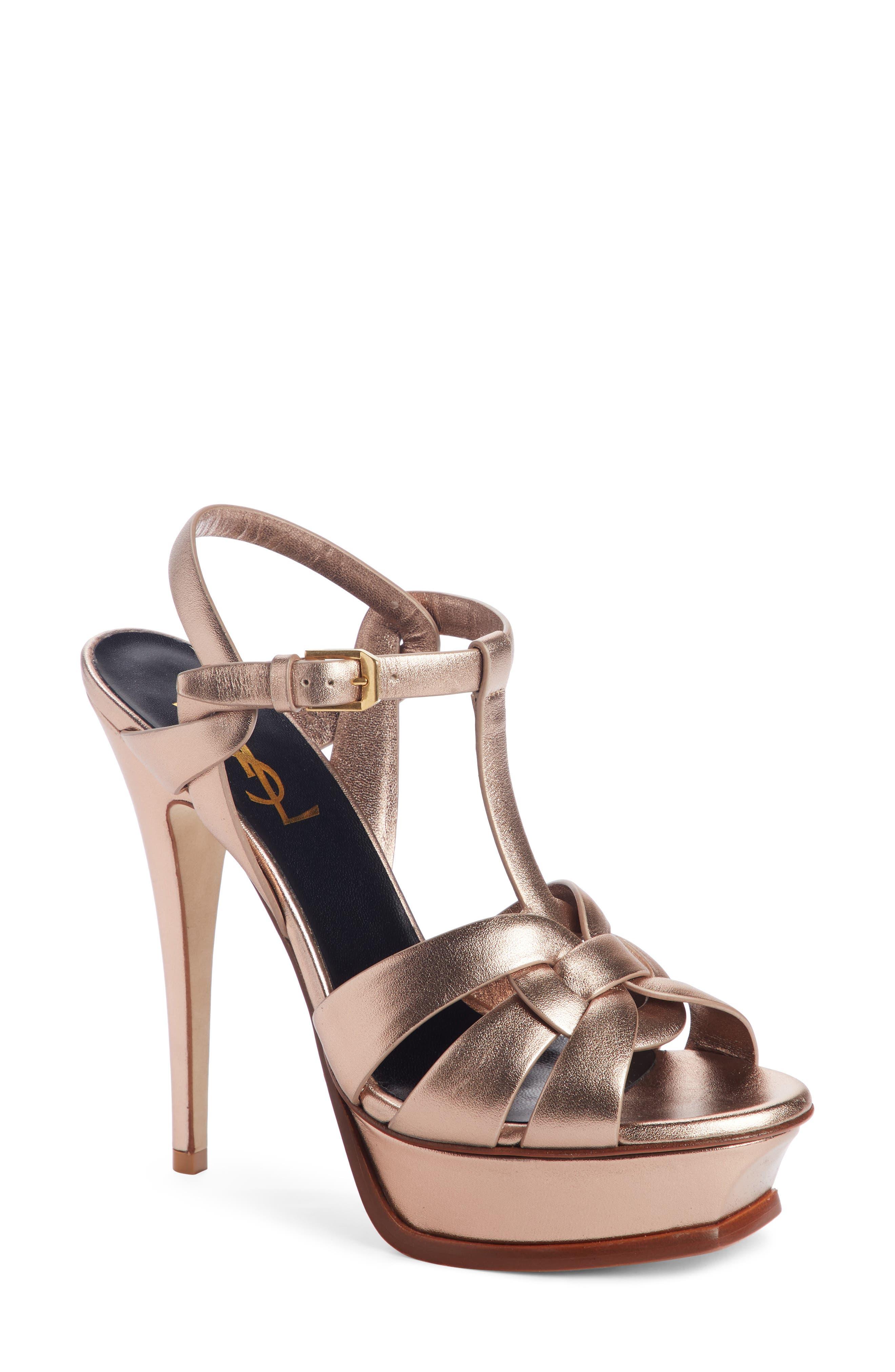 SAINT LAURENT Tribute Metallic Platform Sandal, Main, color, BLUSH METAL