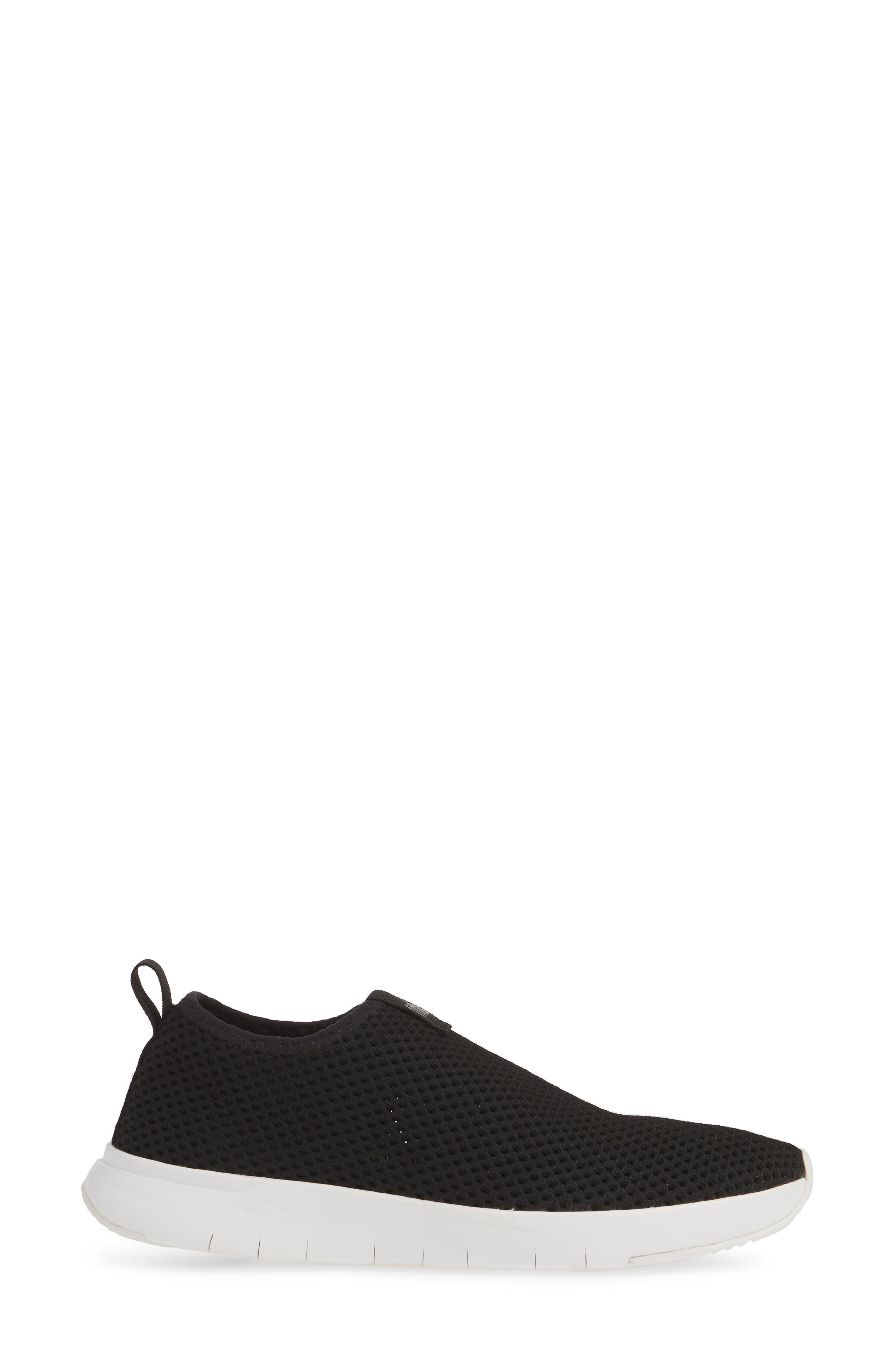 FITFLOP, Airmesh Slip-On Sneaker, Alternate thumbnail 3, color, BLACK