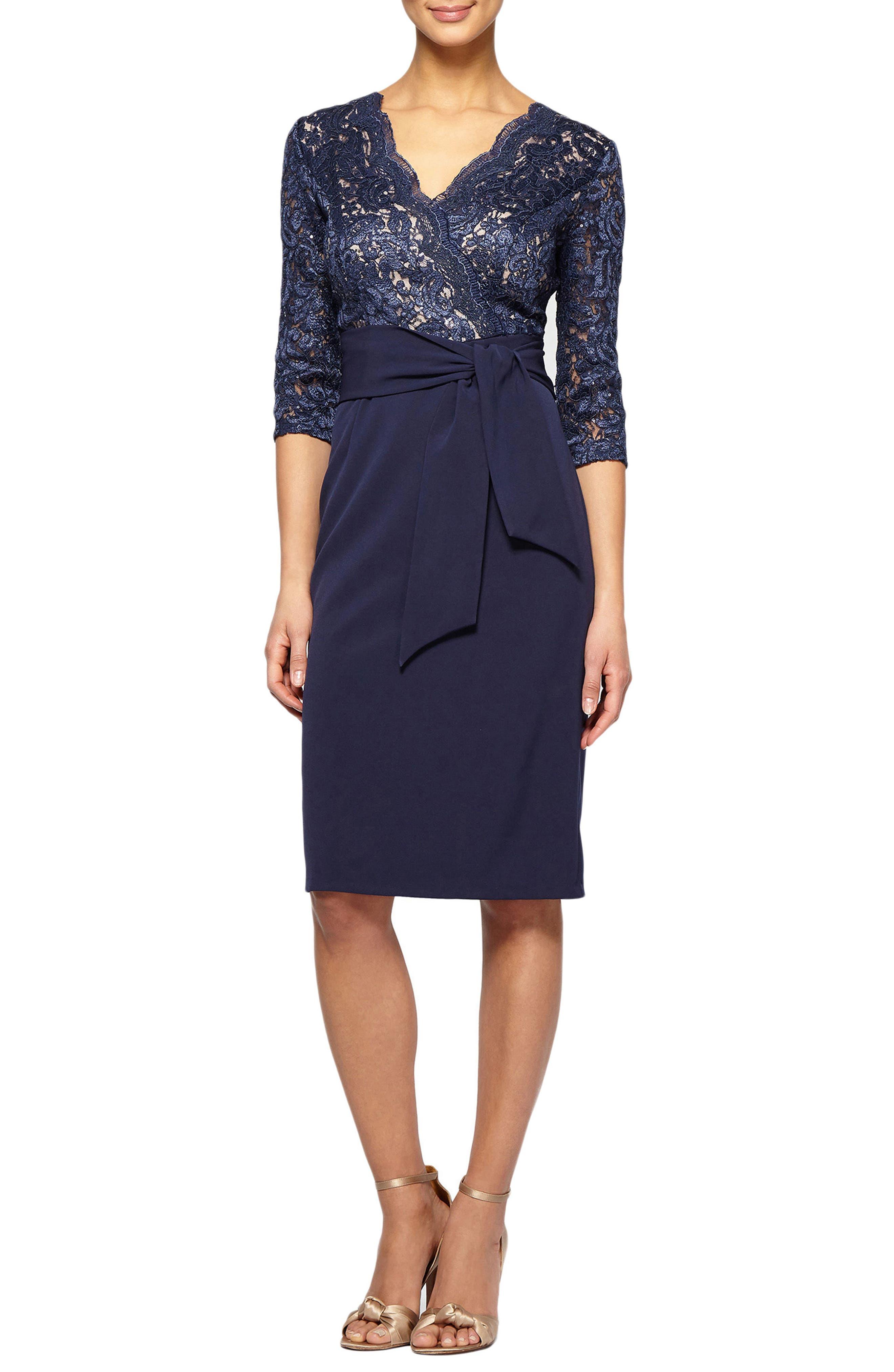 Petite Alex Evenings Tie Waist Lace Sheath Dress, Blue