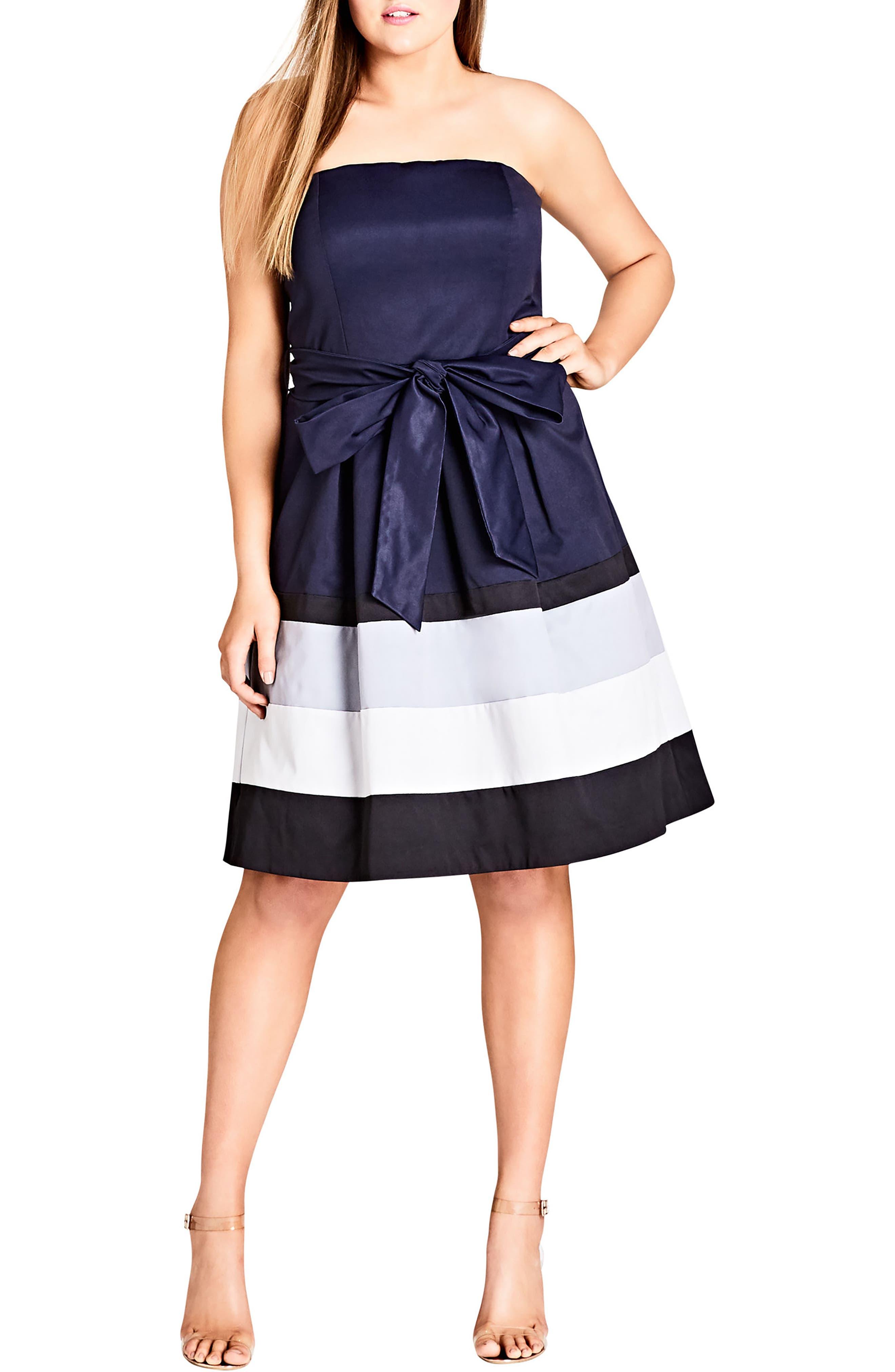 Plus Size City Chic Block Stripe Sleeveless Fit & Flare Dress, Blue