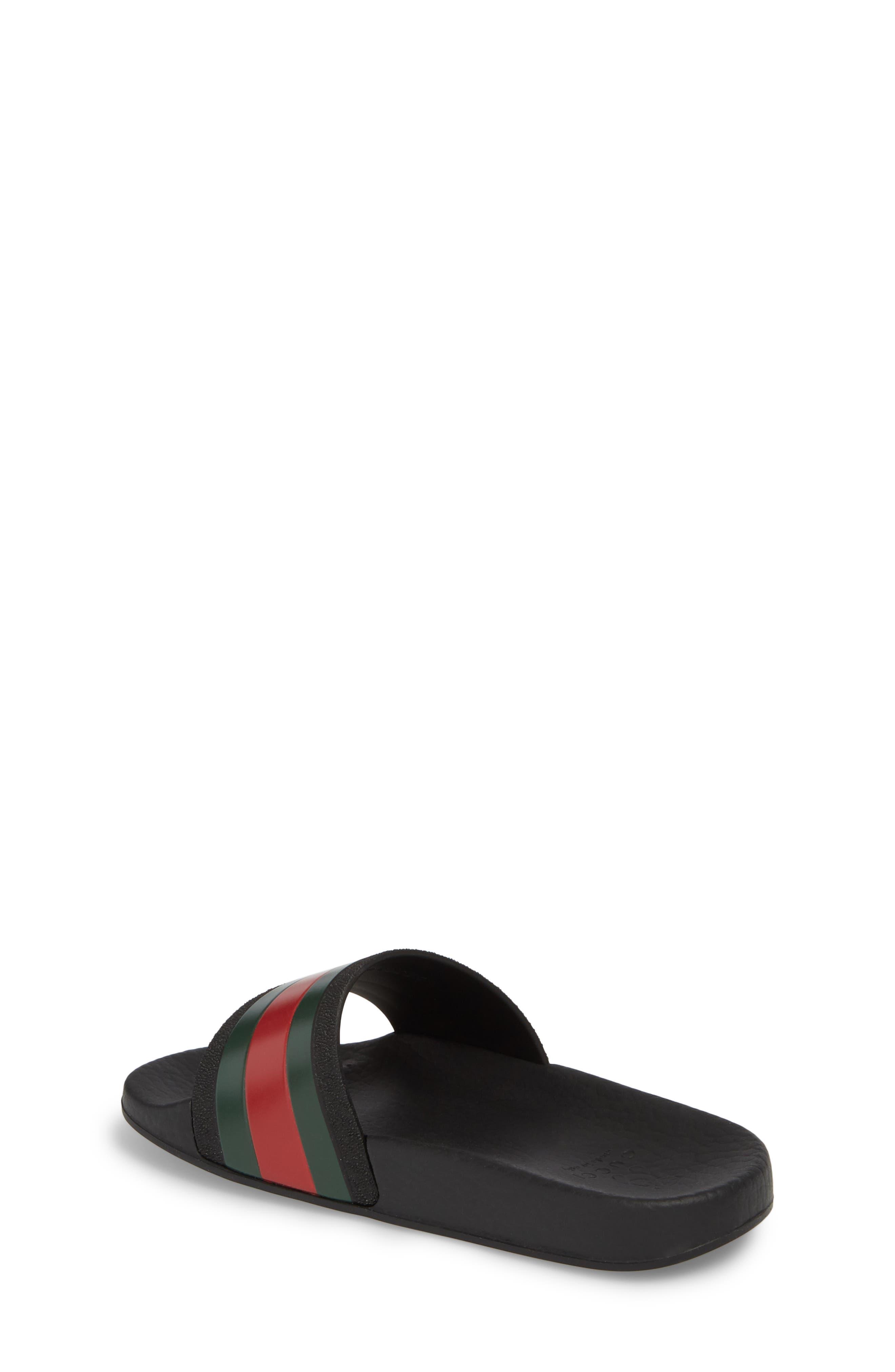 GUCCI, Pursuit Slide Sandal, Alternate thumbnail 2, color, BLACK/ GREEN/ RED