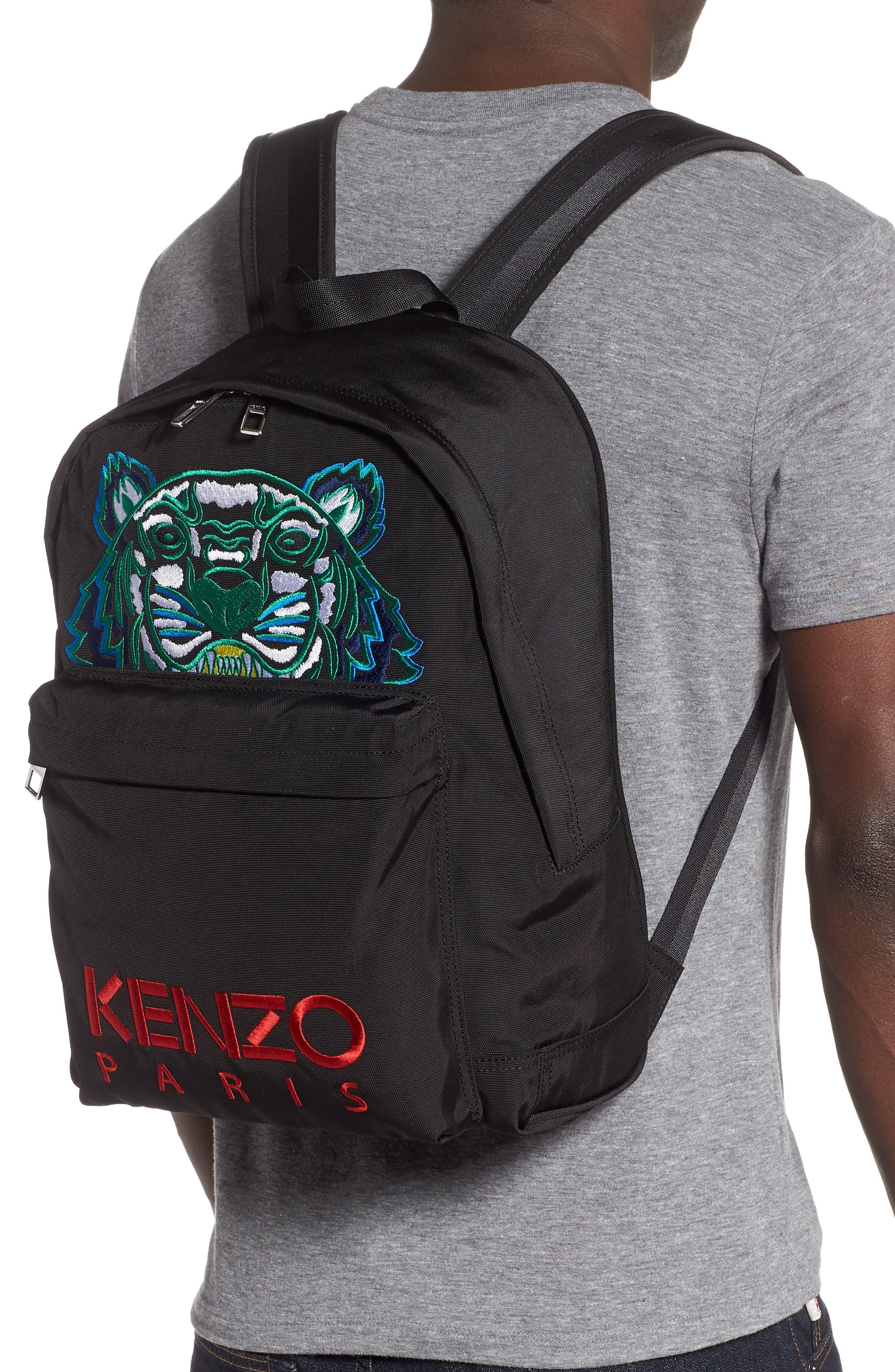 KENZO, Tiger Backpack, Alternate thumbnail 2, color, BLACK