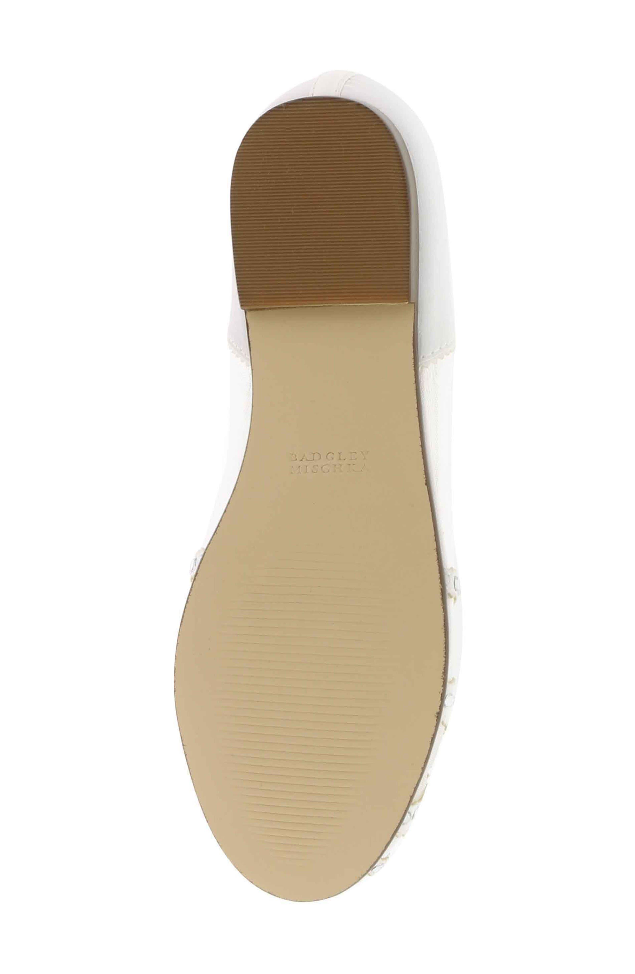 BADGLEY MISCHKA COLLECTION, Badgley Mischka Gigi Embellished Flat, Alternate thumbnail 4, color, WHITE
