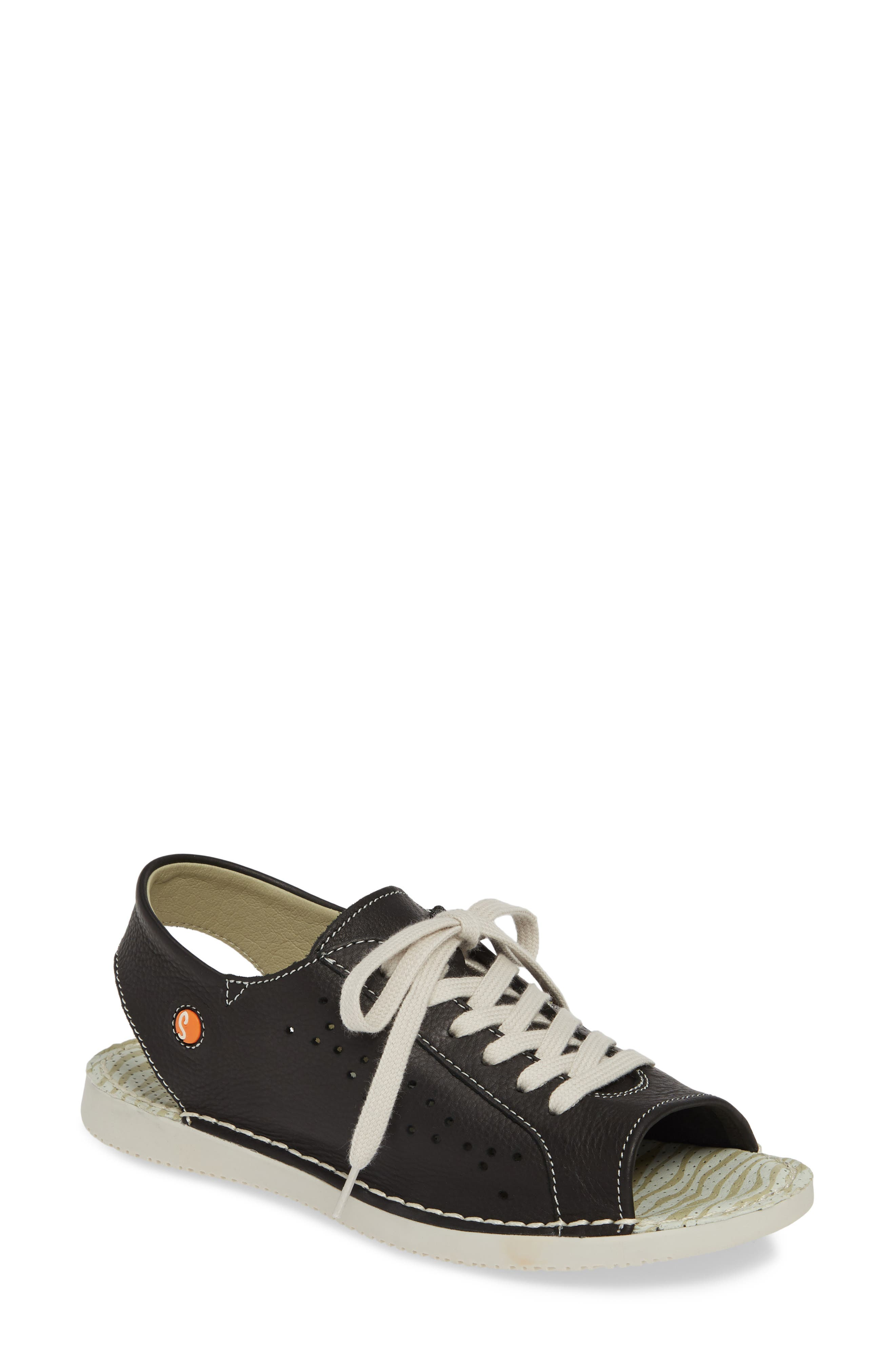 SOFTINOS BY FLY LONDON, Thi Slingback Sneaker Sandal, Main thumbnail 1, color, BLACK LEATHER
