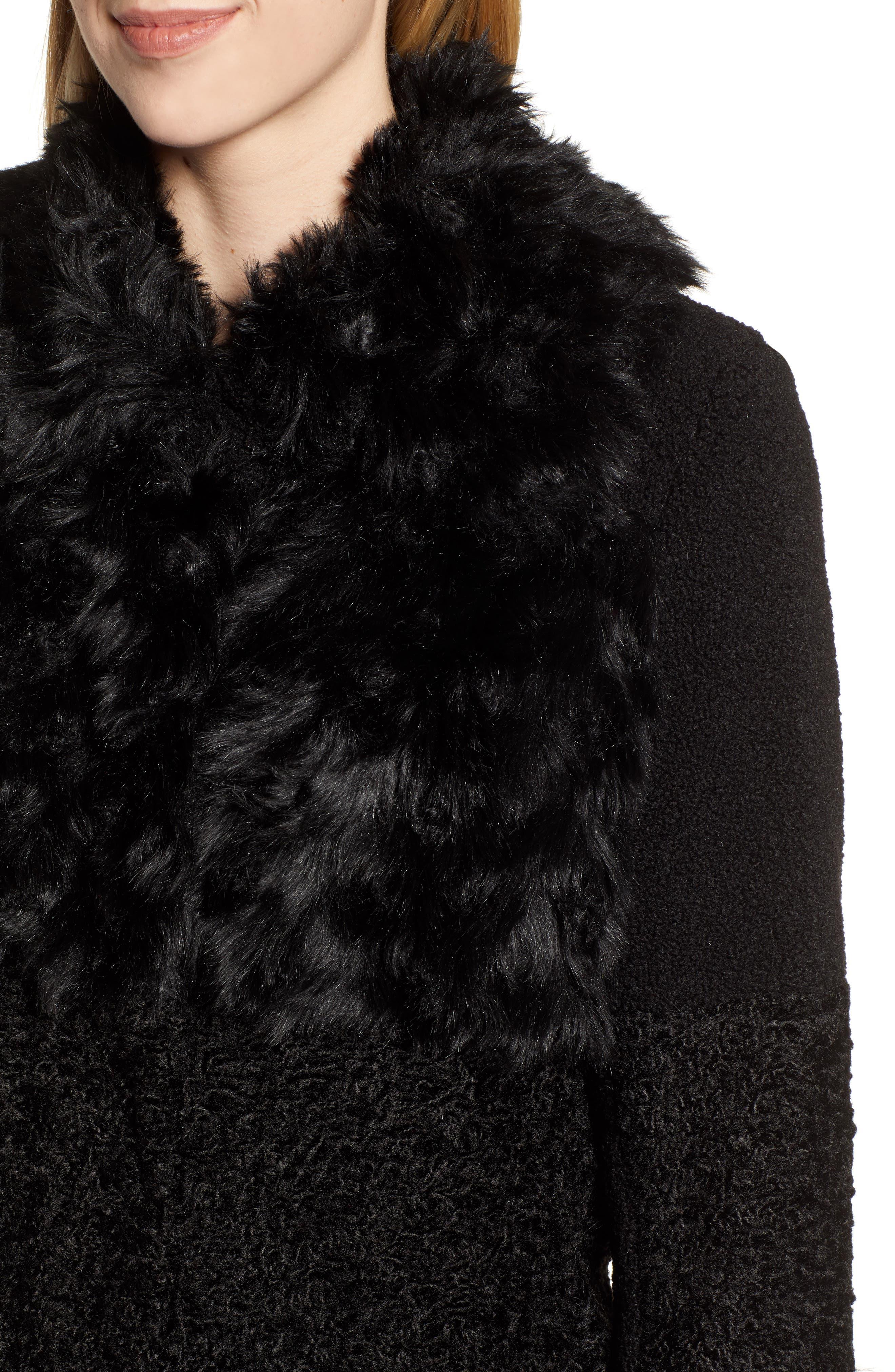 KENSIE, Faux Fur Patchwork Coat, Alternate thumbnail 5, color, 001