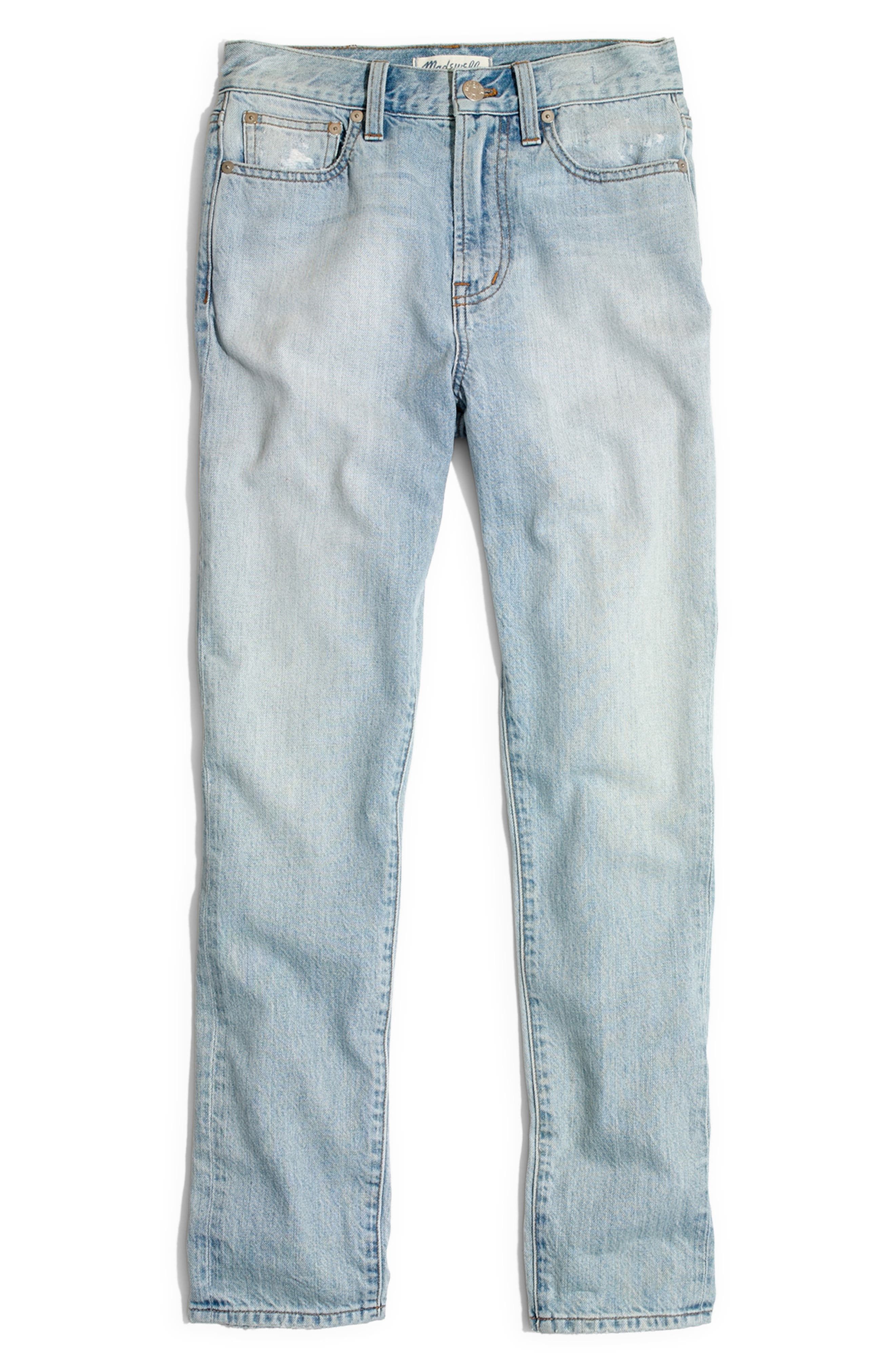 MADEWELL, 'Perfect Summer' High Rise Ankle Jeans, Alternate thumbnail 5, color, FITZGERALD WASH