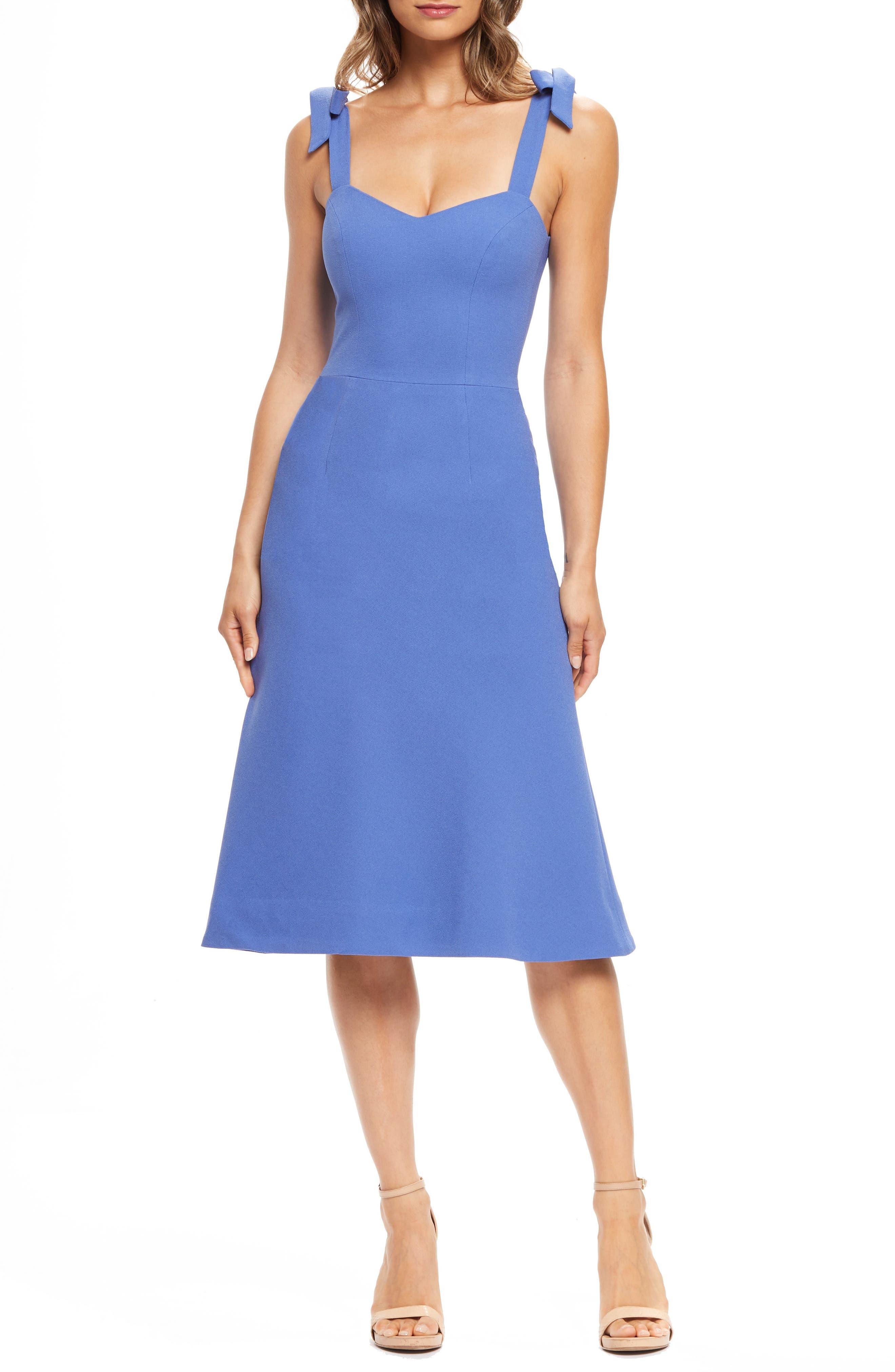 Dress The Population Hana Tie Shoulder Cocktail Dress, Blue
