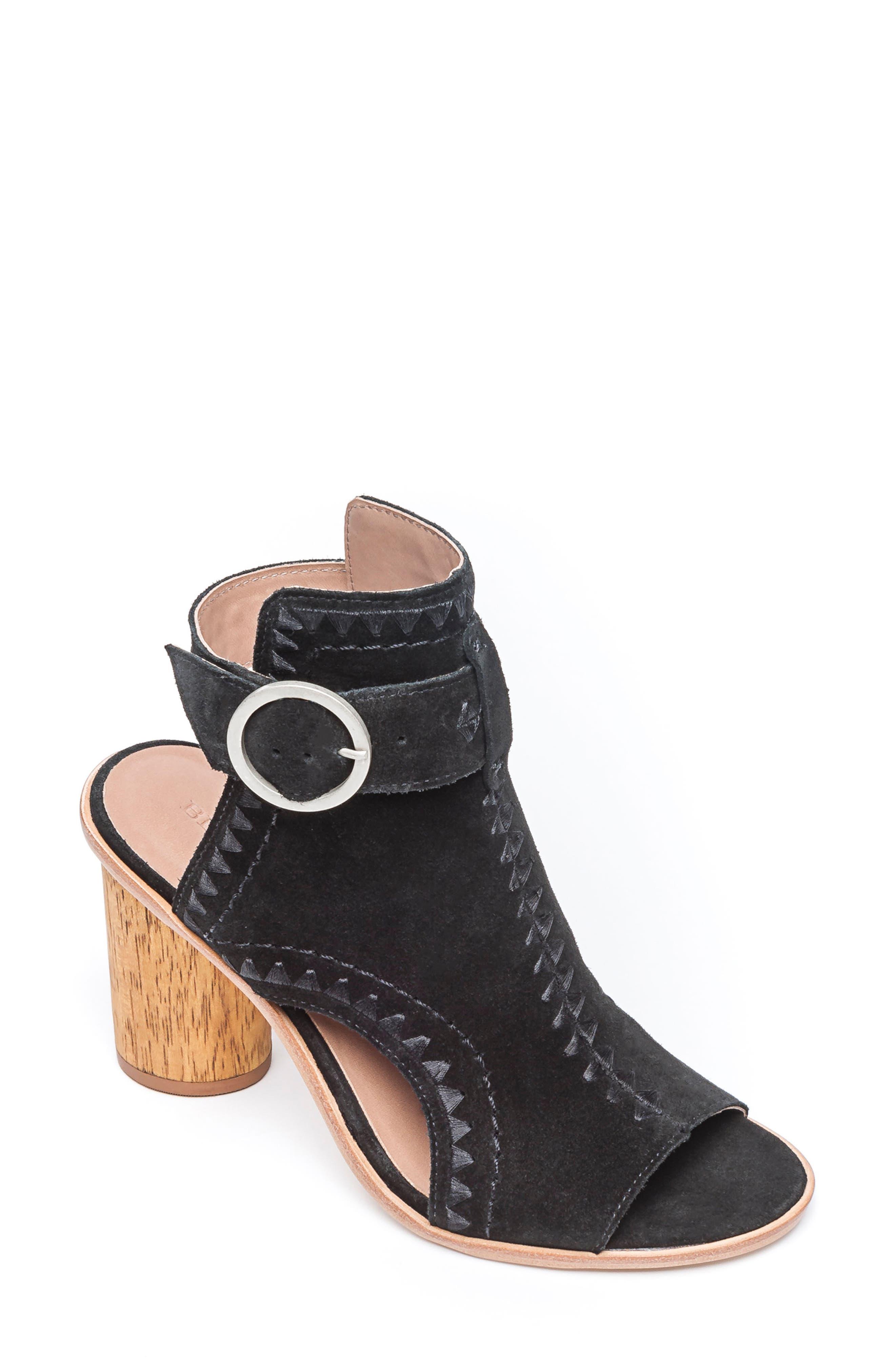 BERNARDO Harper Embroidered Sandal, Main, color, BLACK LEATHER