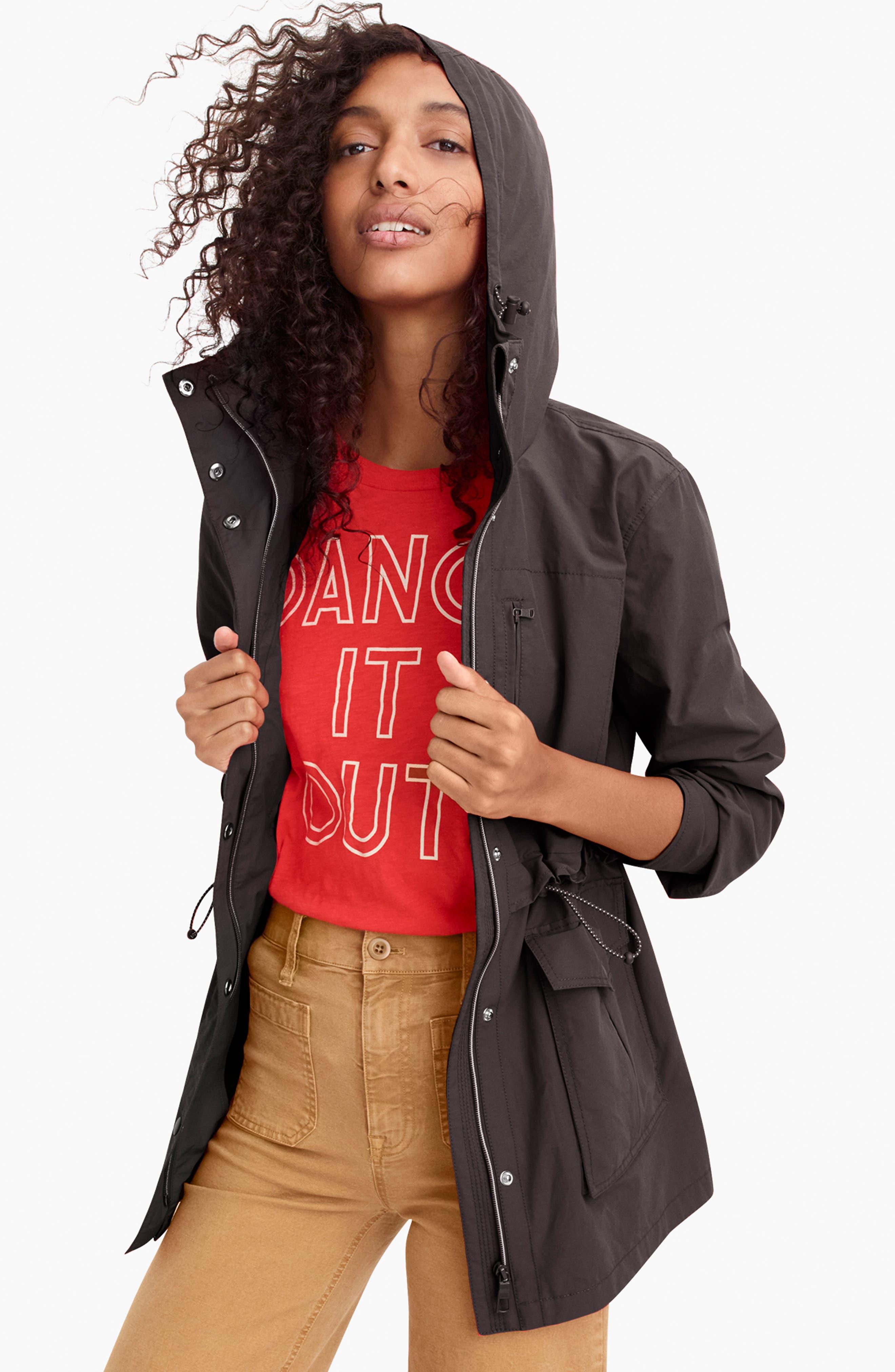 J.CREW, Perfect Raincoat, Alternate thumbnail 5, color, BLACK