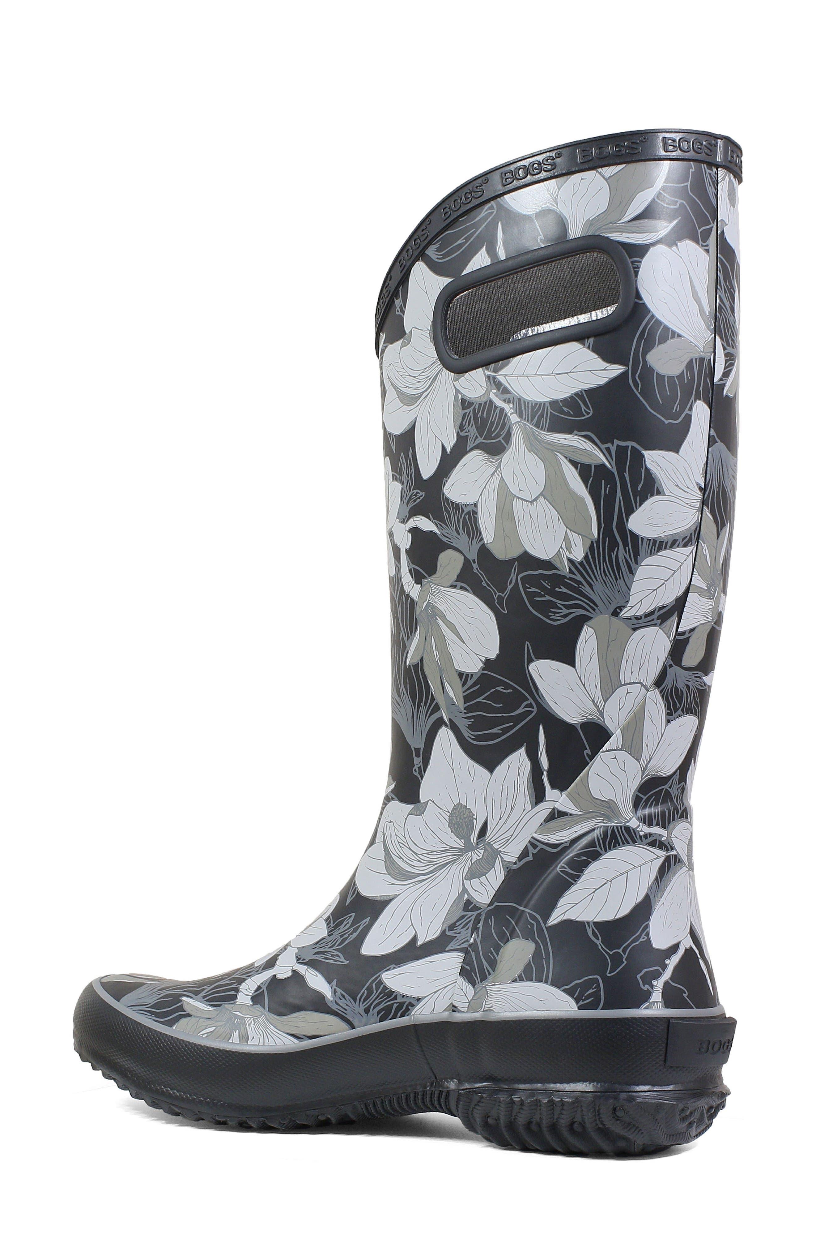 BOGS, Classic Tall Waterproof Rain Boot, Alternate thumbnail 2, color, BLACK MULTI RUBBER