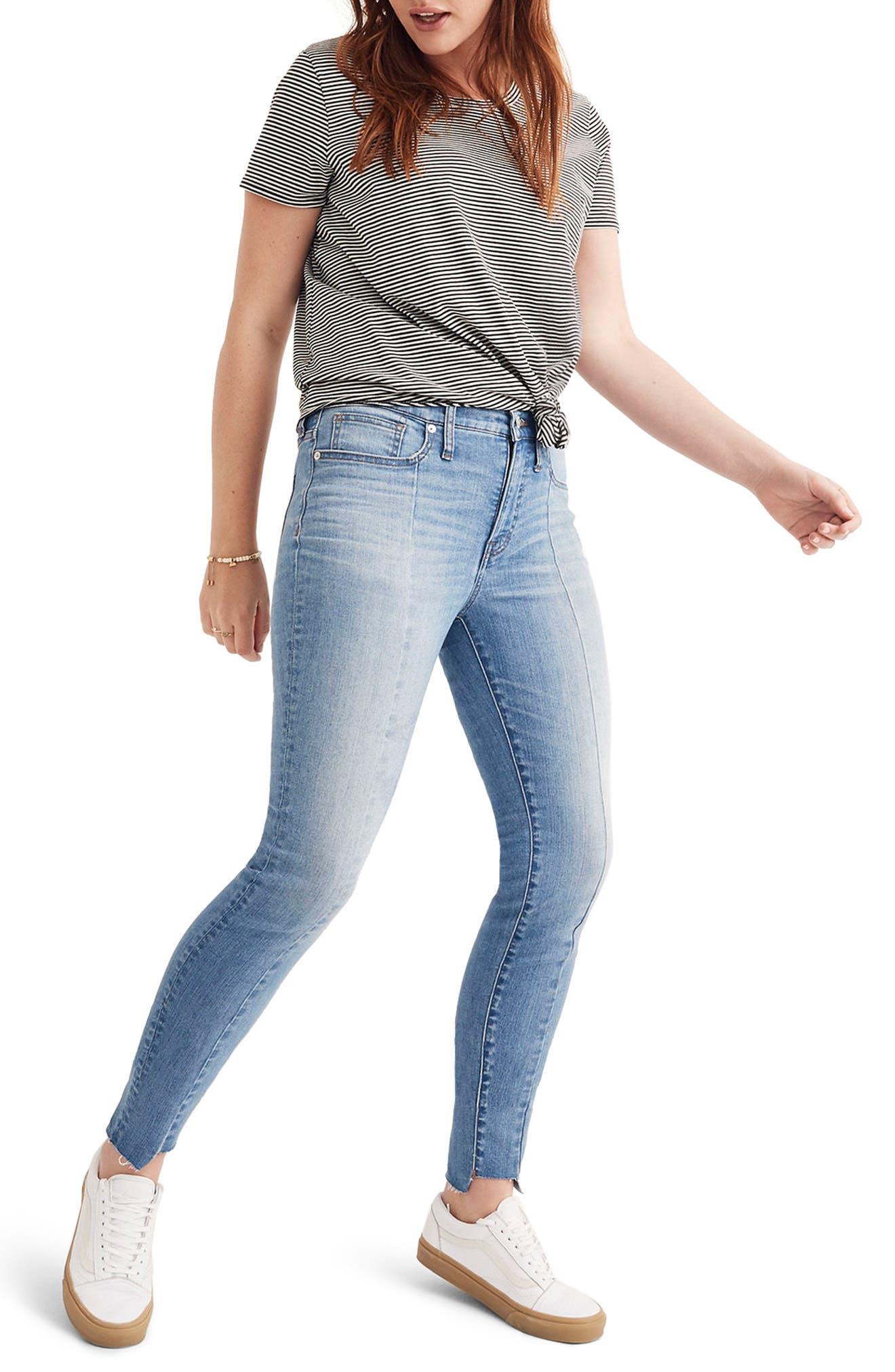 MADEWELL, 9-Inch High Waist Seamed Step-Hem Edition Skinny Jeans, Main thumbnail 1, color, 400
