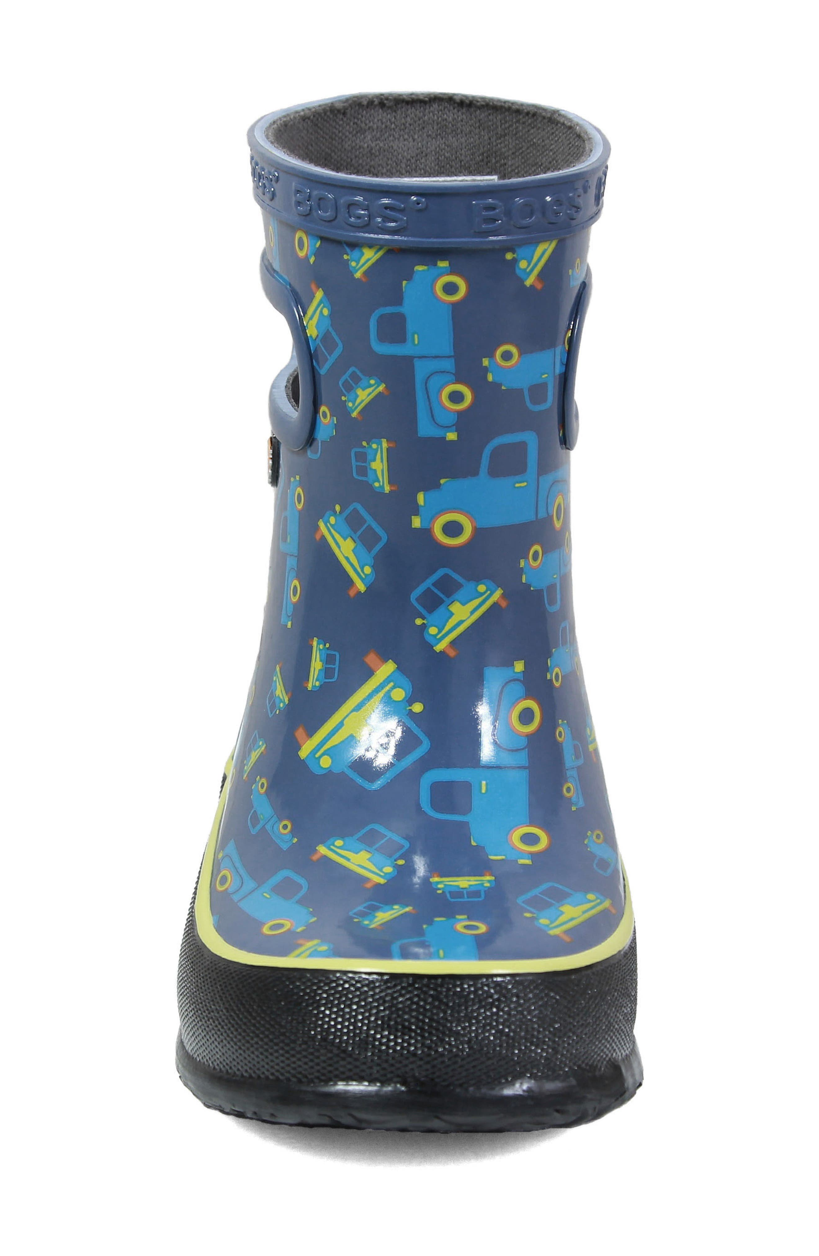 BOGS, Skipper Truck Print Rubber Rain Boot, Alternate thumbnail 4, color, 460