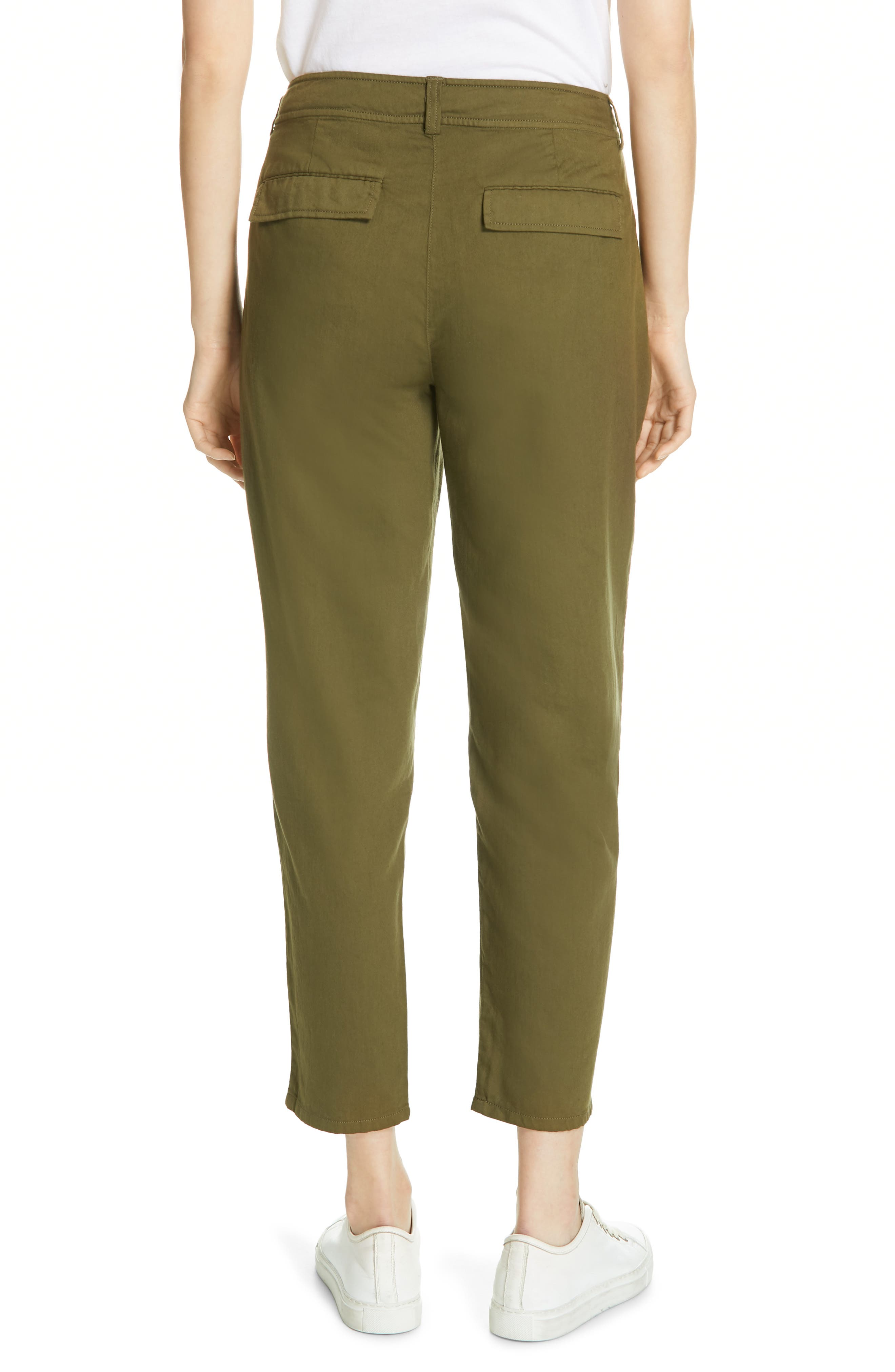 EILEEN FISHER, Slouchy Ankle Pants, Alternate thumbnail 2, color, OLIVE