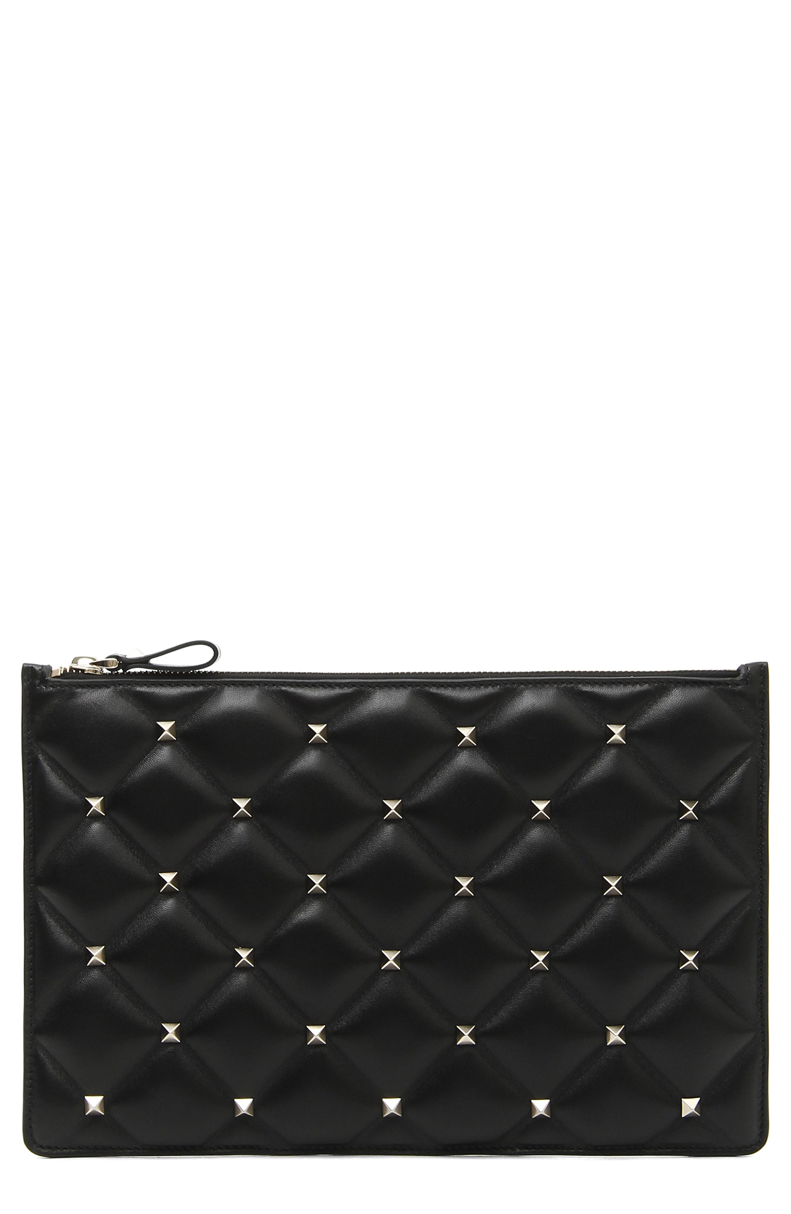 VALENTINO GARAVANI Large Candystud Leather Pouch, Main, color, NERO