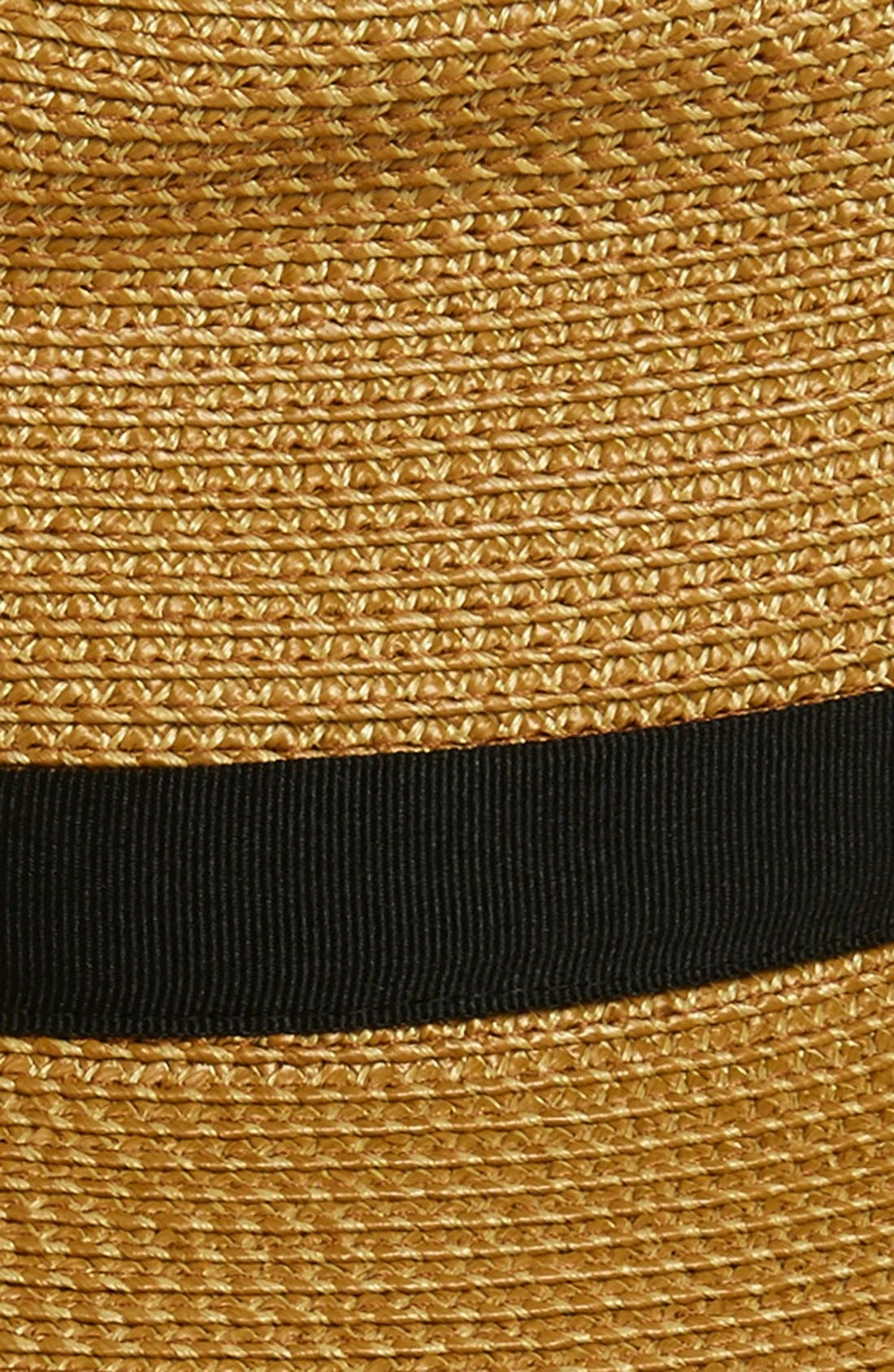 ERIC JAVITS, 'Sun Crest' Packable Hybrid Fedora Visor, Alternate thumbnail 3, color, NATURAL/ BLACK