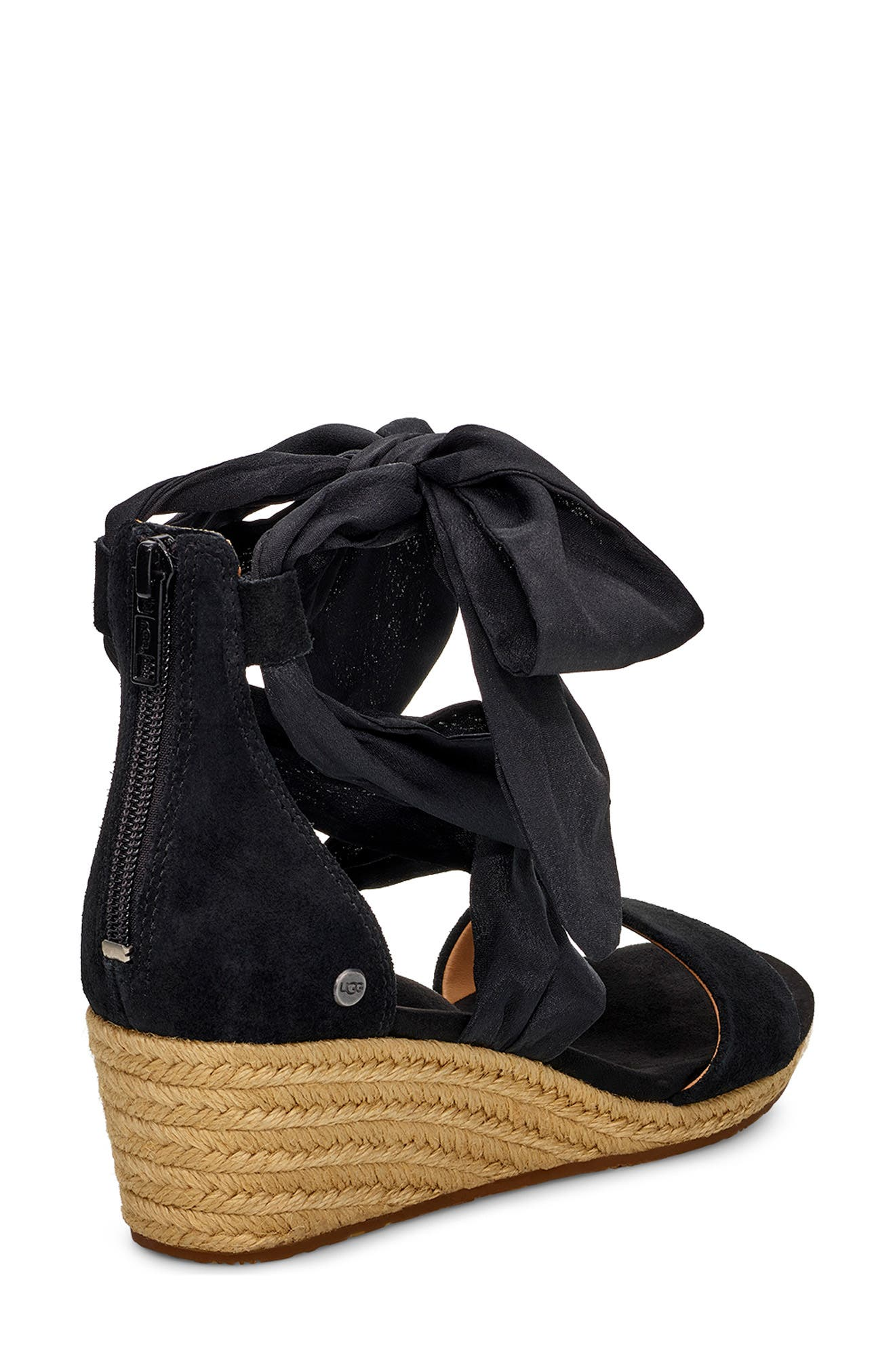 UGG<SUP>®</SUP>, Trina Ankle Tie Wedge Sandal, Alternate thumbnail 2, color, BLACK LEATHER