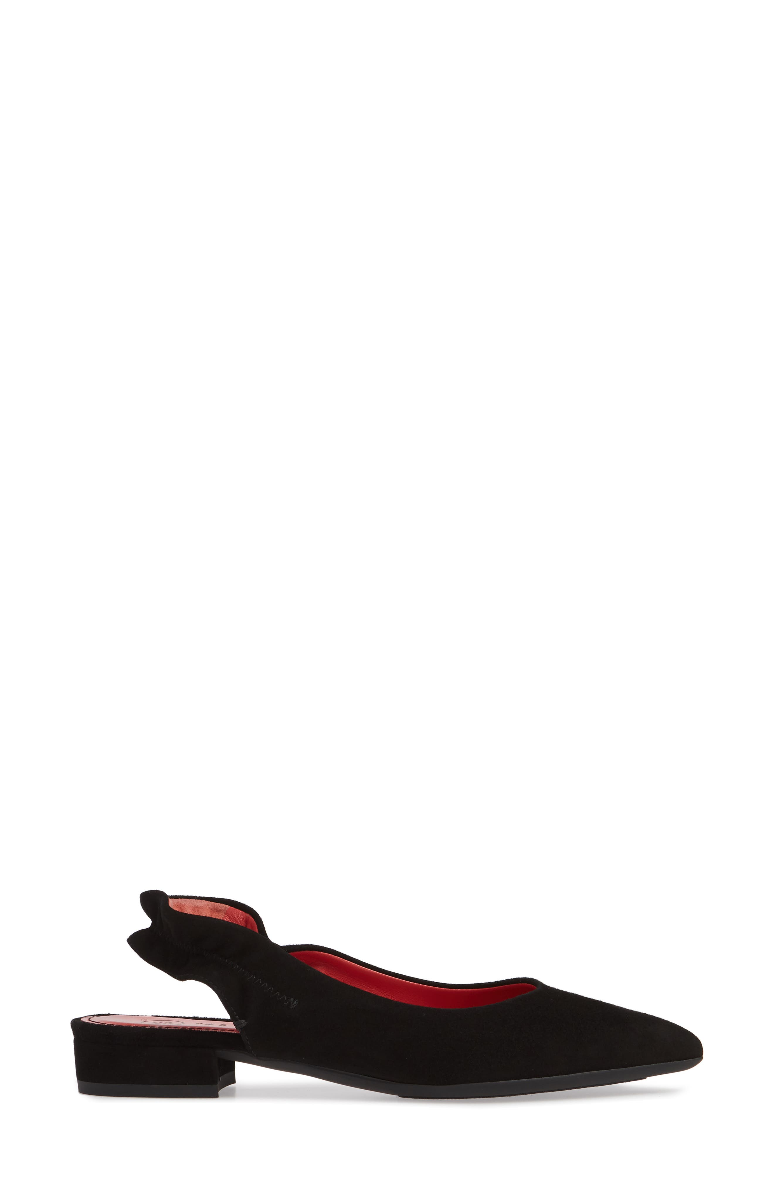 PAS DE ROUGE, Janet Flat, Alternate thumbnail 3, color, BLACK SUEDE