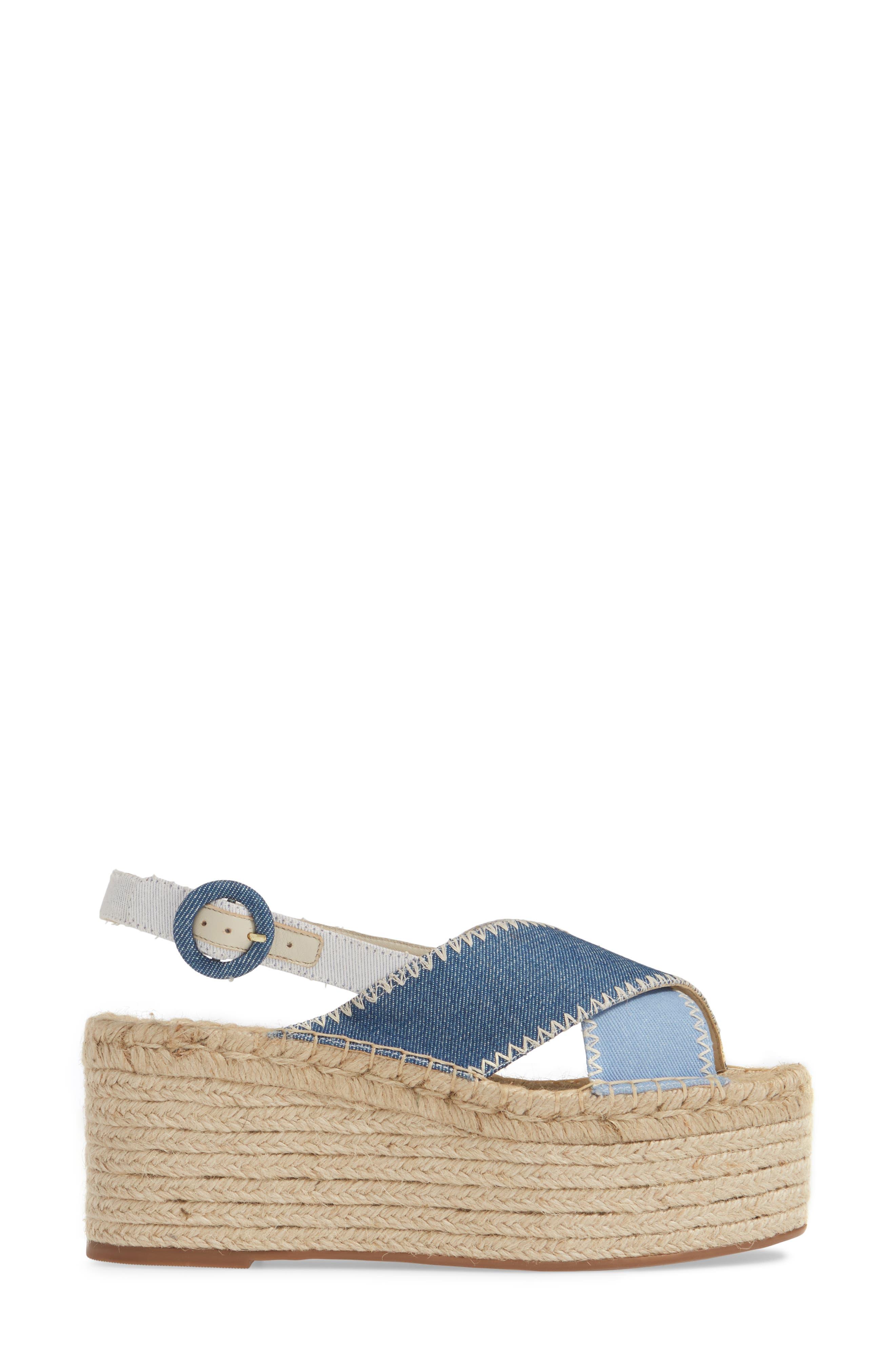 ALICE + OLIVIA, Fayen Platform Sandal, Alternate thumbnail 3, color, DARK BLUE/ LIGHT BLUE/ IVORY