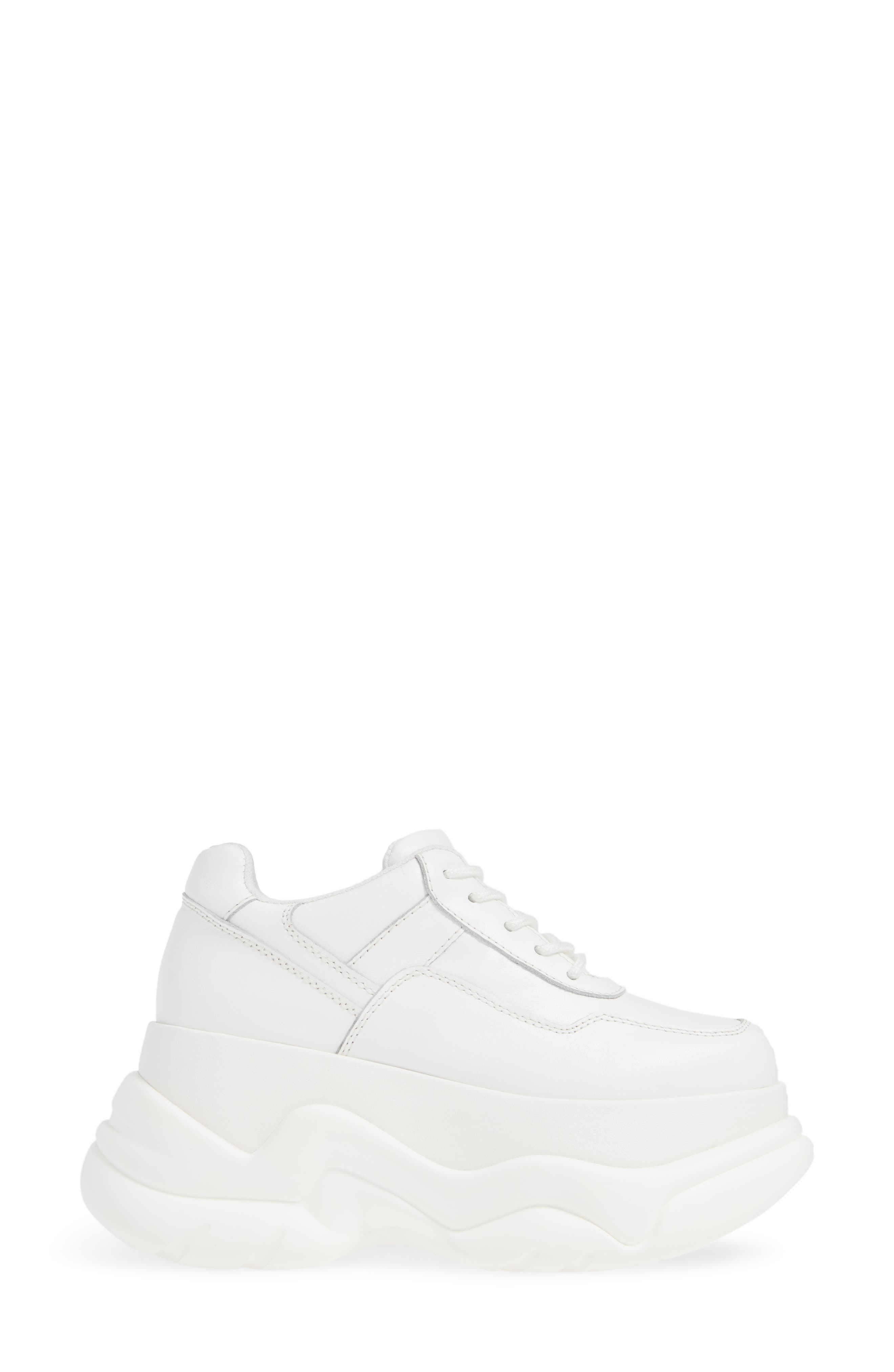 JEFFREY CAMPBELL, Most Def Wedge Sneaker, Alternate thumbnail 3, color, WHITE/ WHITE LEATHER