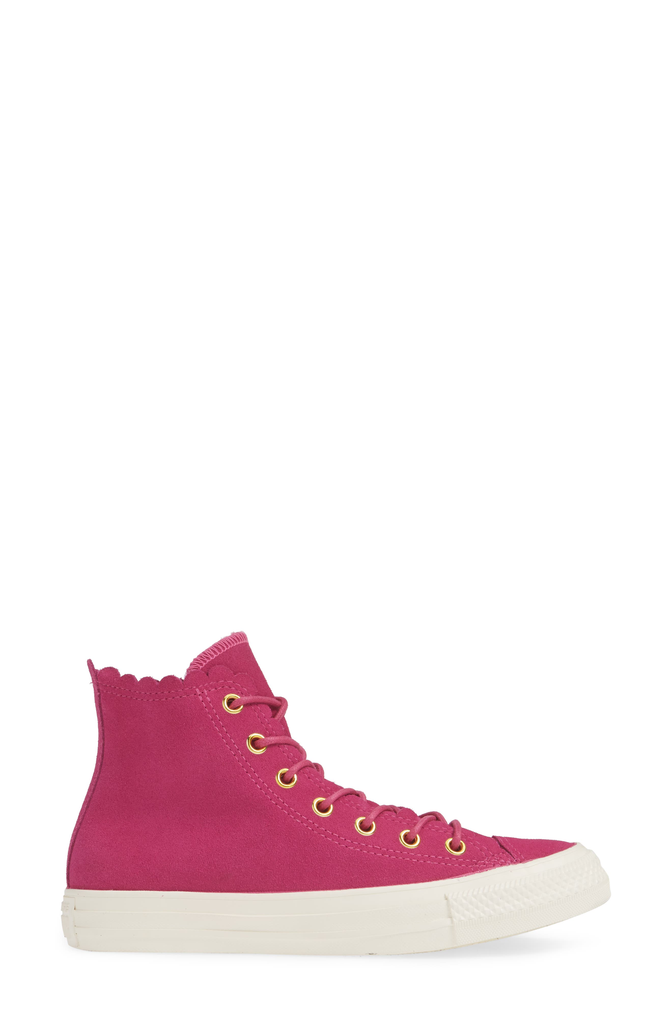 CONVERSE, Chuck Taylor<sup>®</sup> All Star<sup>®</sup> Scallop High Top Suede Sneaker, Alternate thumbnail 3, color, ACTIVE FUCHSIA/ GOLD/ EGRET
