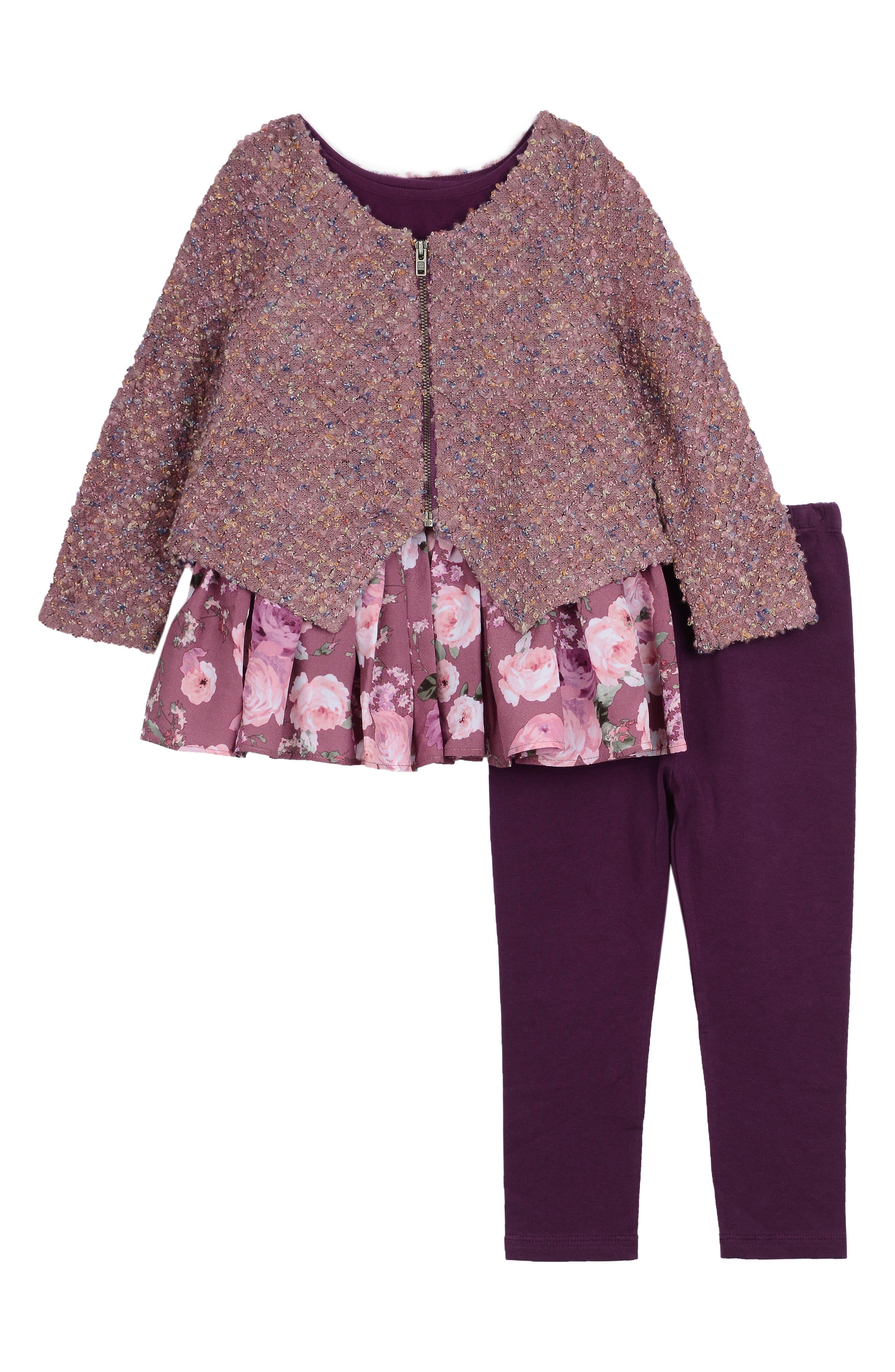 PIPPA & JULIE Cardigan, Tunic & Leggings Set, Main, color, WINE
