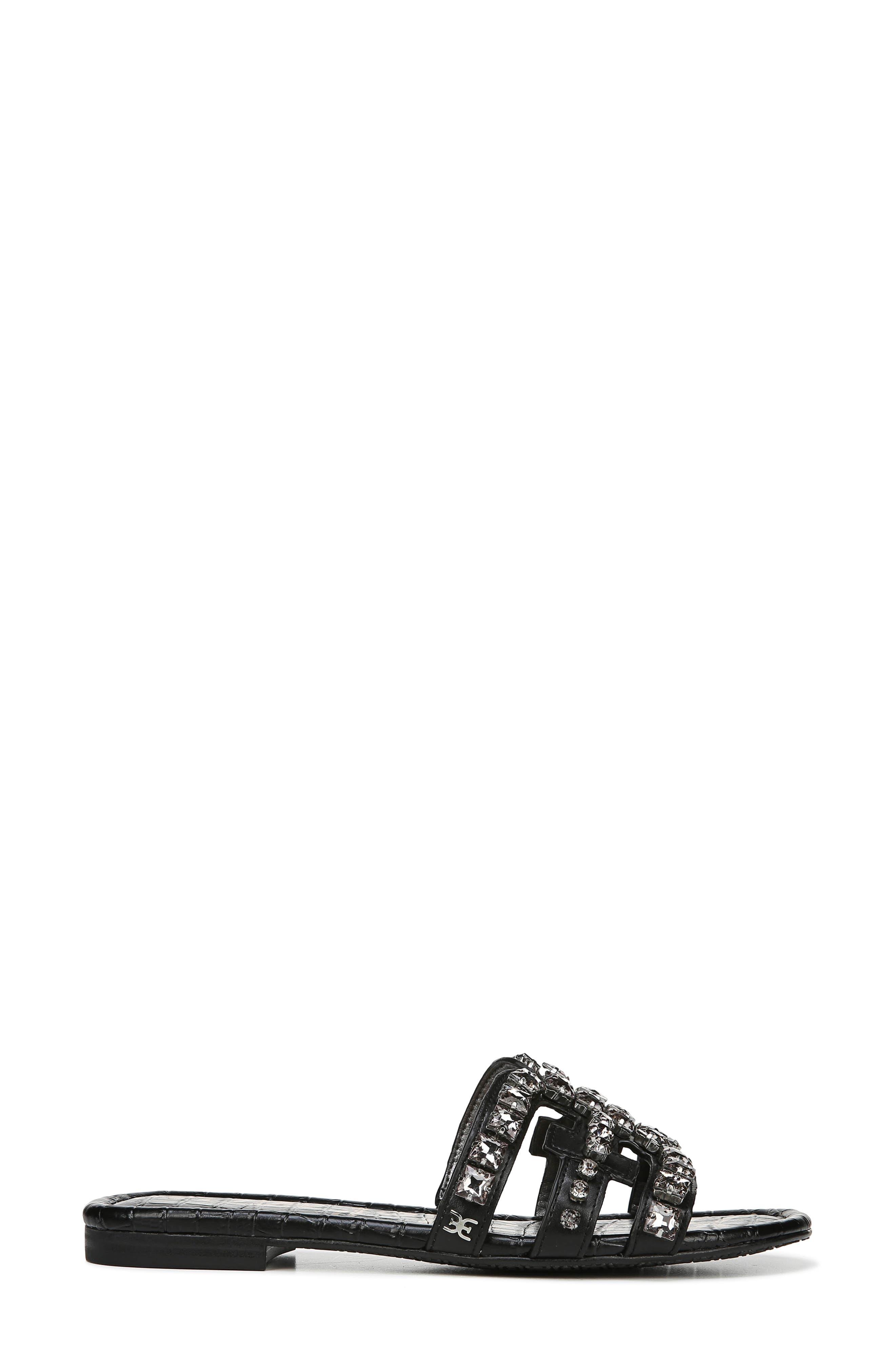 SAM EDELMAN, Bay 2 Embellished Slide Sandal, Alternate thumbnail 3, color, BLACK NAPPA LEATHER