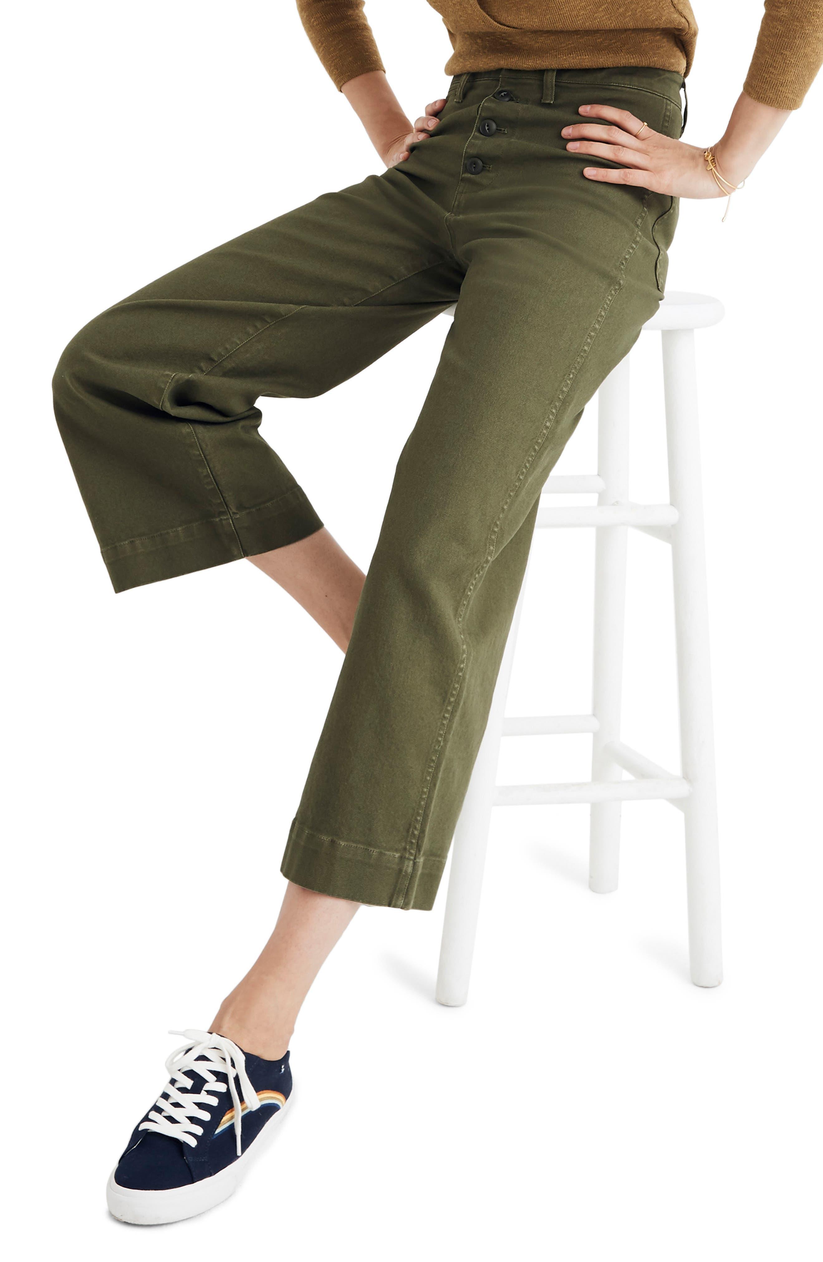 MADEWELL, Emmett Crop Wide Leg Pants, Alternate thumbnail 4, color, LODEN