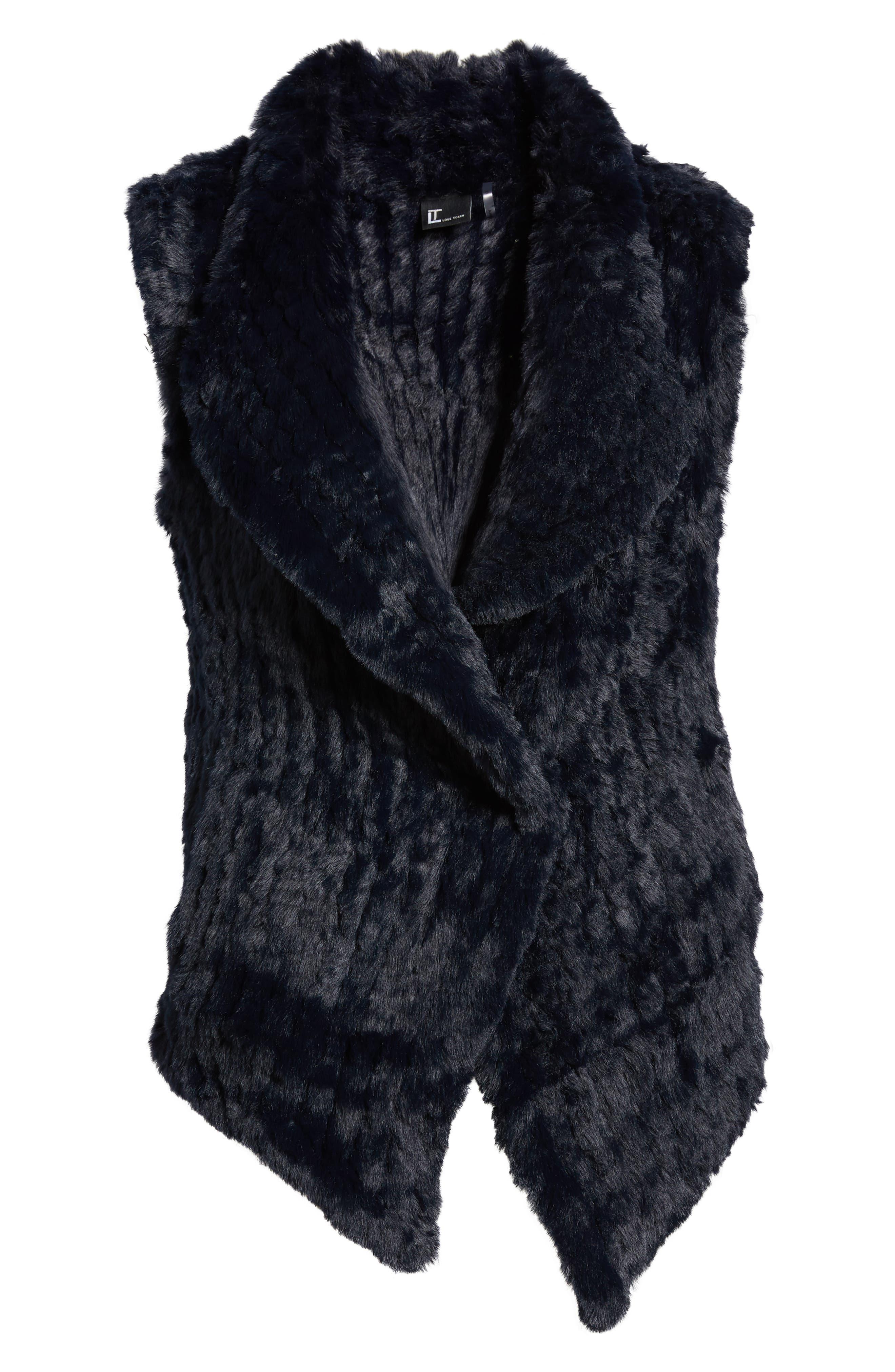 LOVE TOKEN, Faux Fur Vest, Alternate thumbnail 6, color, NAVY