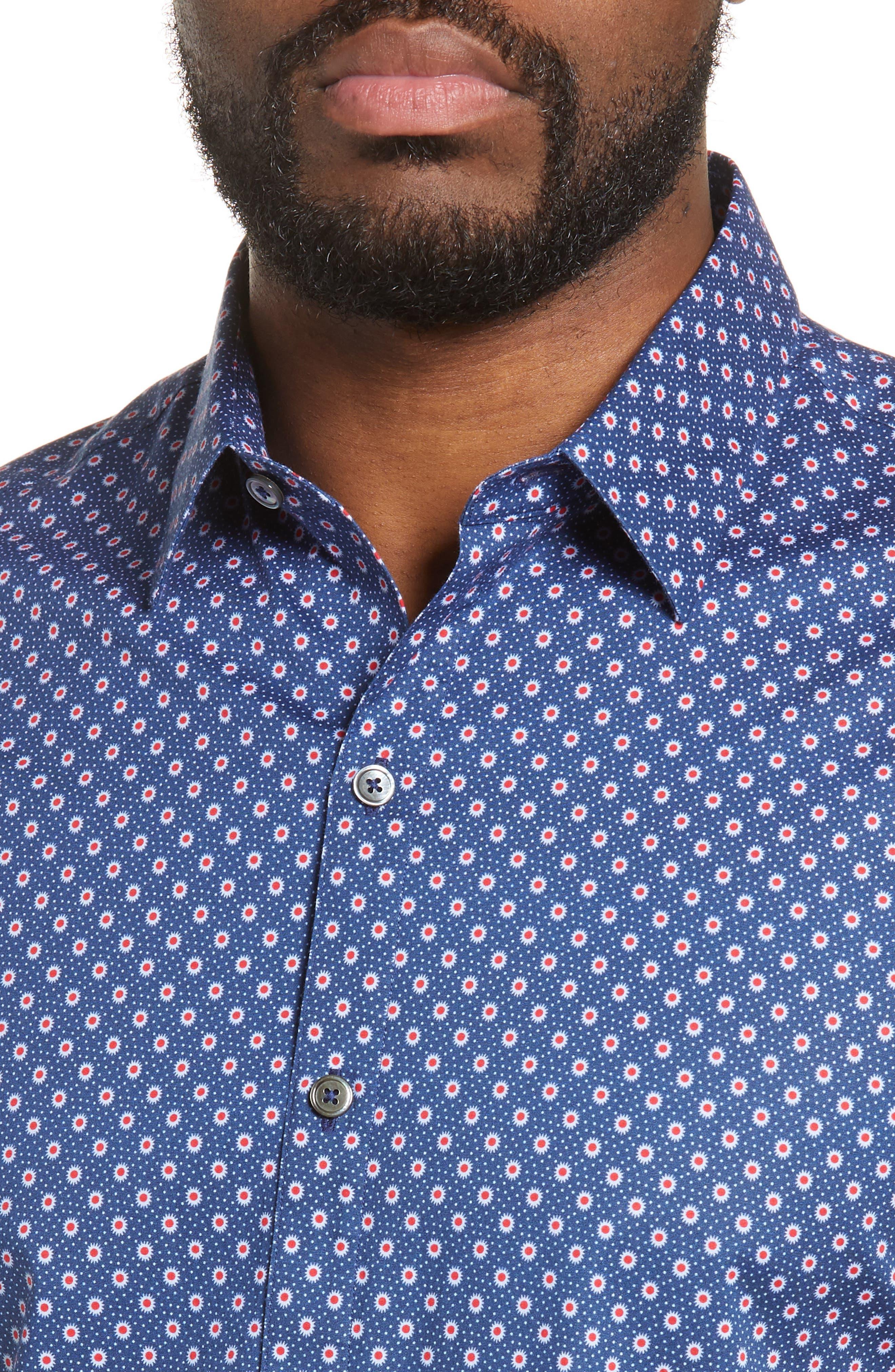 ZACHARY PRELL, Murray Regular Fit Print Sport Shirt, Alternate thumbnail 2, color, BLUE