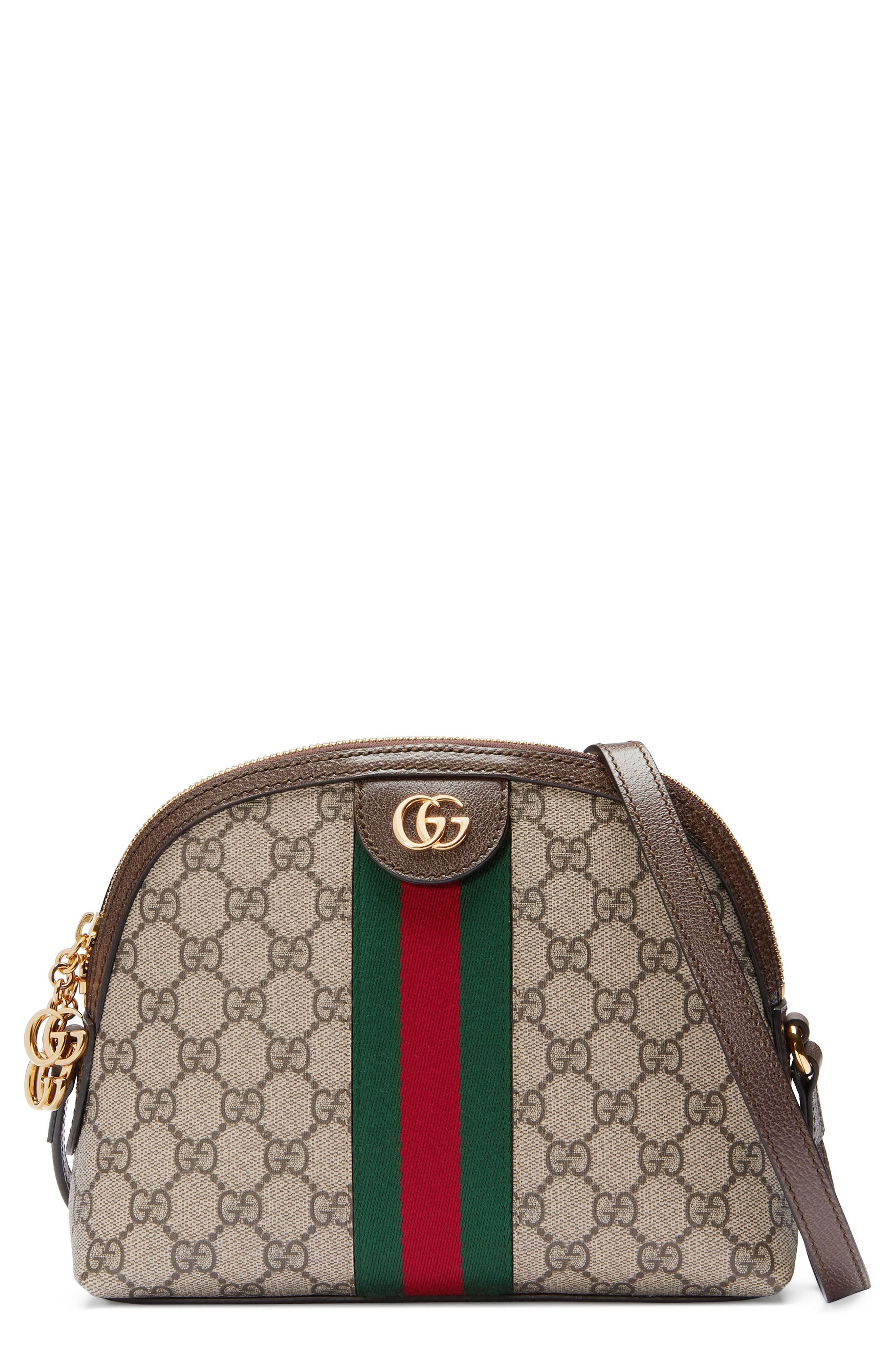 GUCCI, GG Supreme Canvas Shoulder Bag, Main thumbnail 1, color, BEIGE EBONY/ NERO/ RED