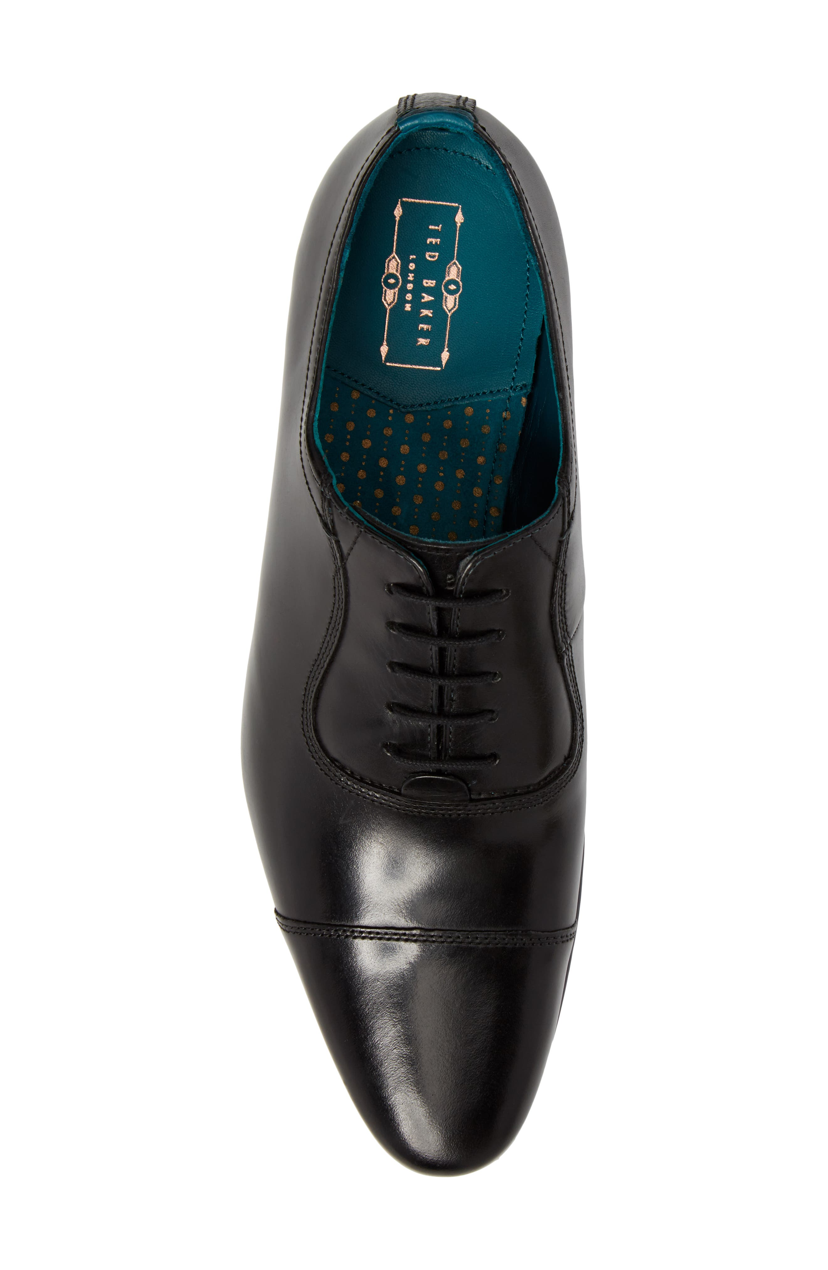 TED BAKER LONDON, Karney Cap Toe Oxford, Alternate thumbnail 5, color, BLACK LEATHER