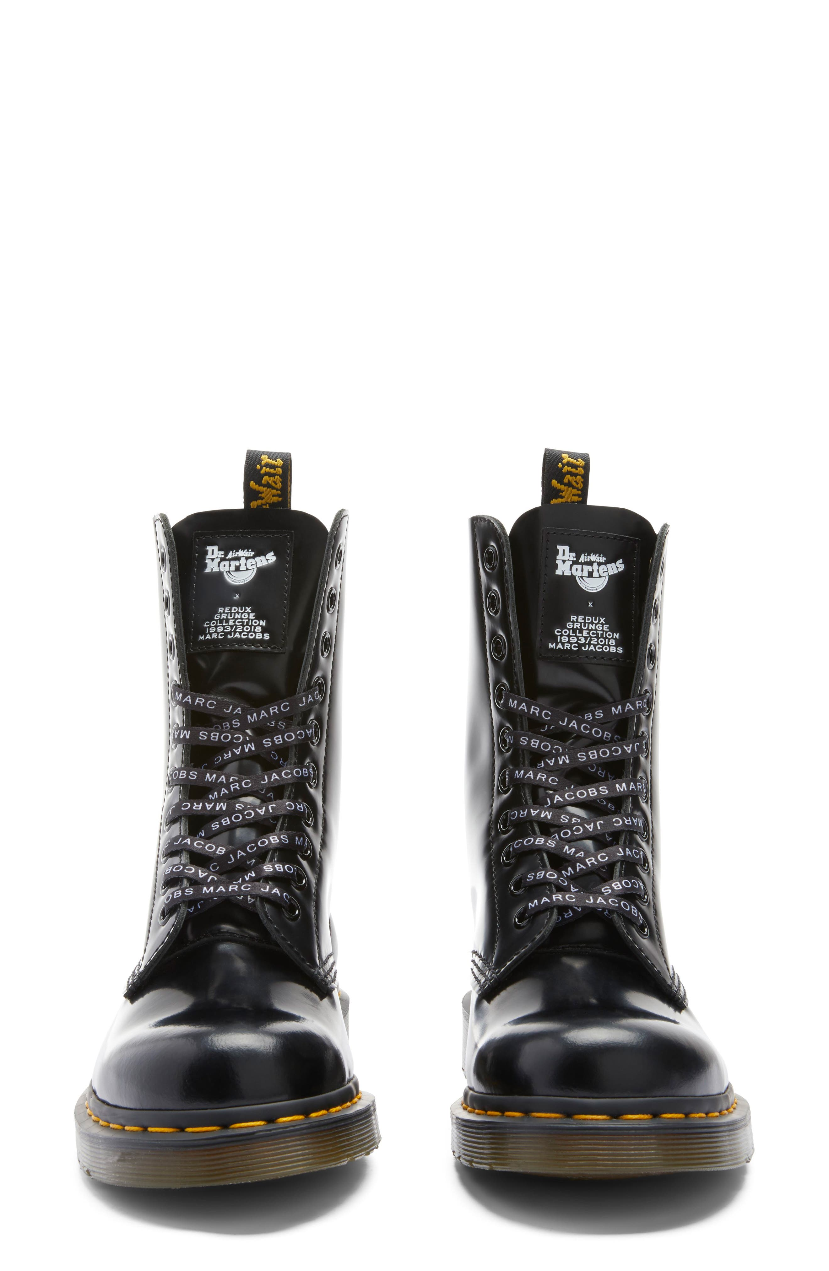 MARC JACOBS, Dr. Martens x MARC JACOBS Boot, Alternate thumbnail 8, color, BLACK