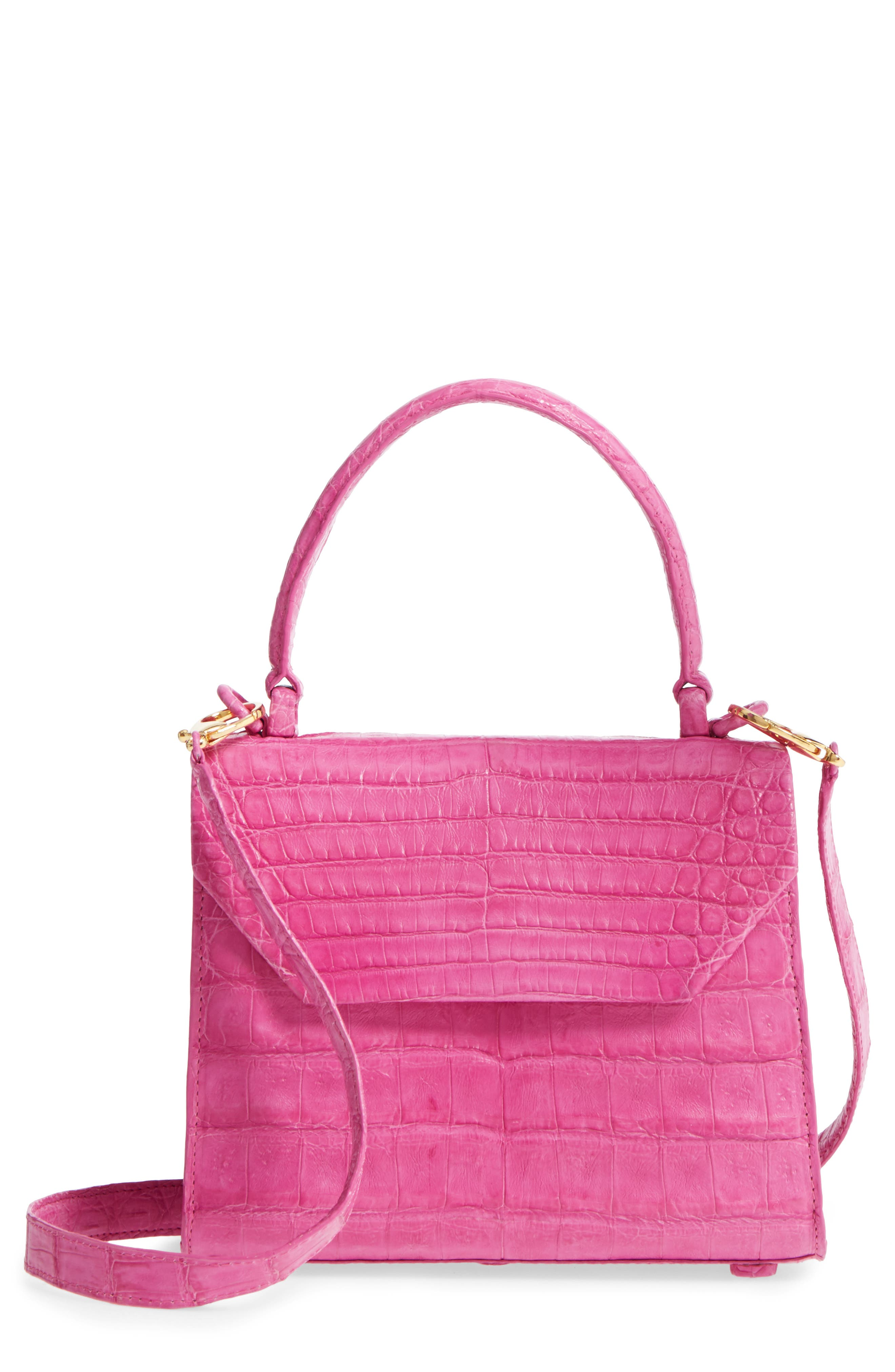 NANCY GONZALEZ, Mini Lily Genuine Crocodile Crossbody Bag, Main thumbnail 1, color, PINK MATTE