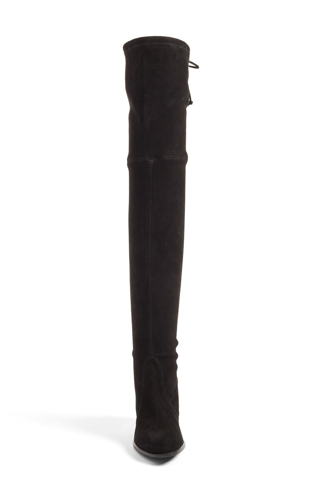 STUART WEITZMAN, Tieland Over the Knee Boot, Alternate thumbnail 4, color, BLACK SUEDE